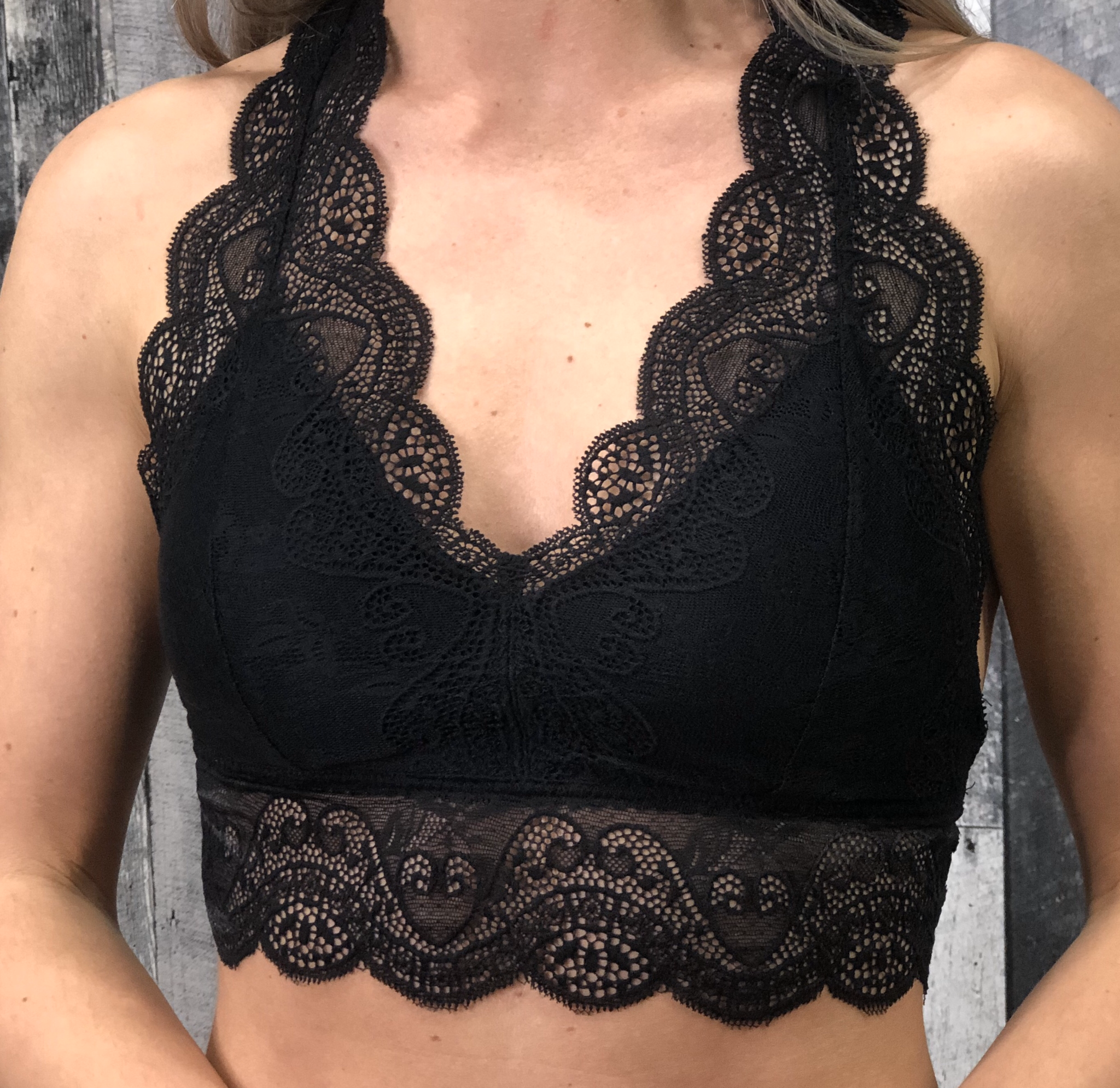 Padded Lace Bralette Black and White 84506