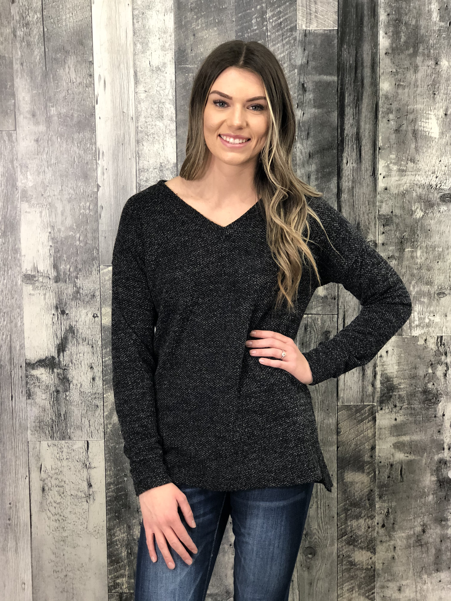 Tunic Heathered Top  - Black 84612