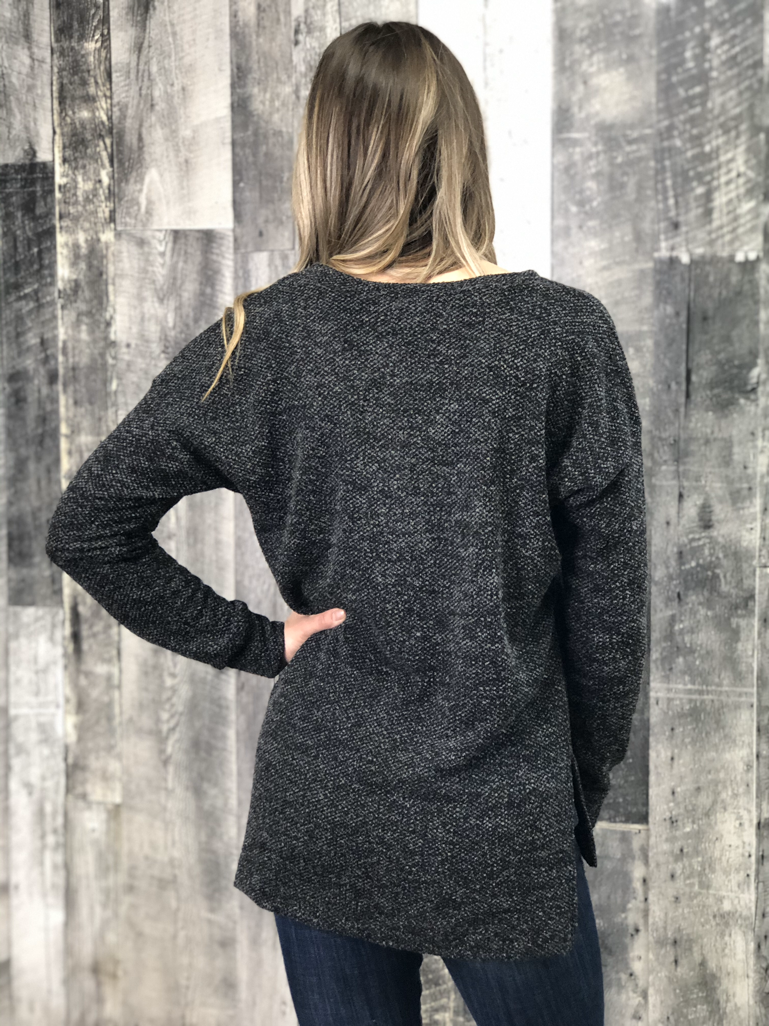Tunic Heathered Top  - Black