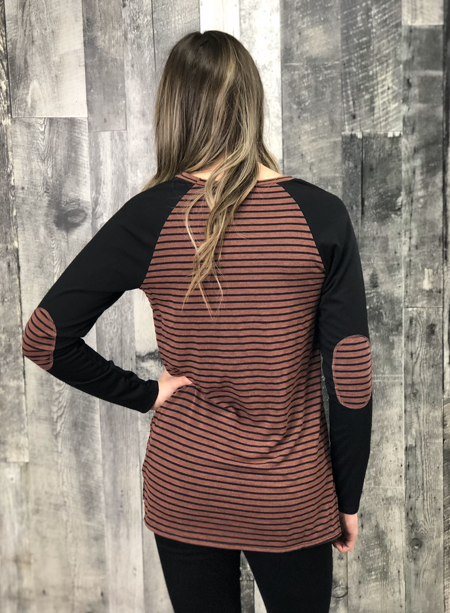 Burgundy Elbow Patch Striped Top