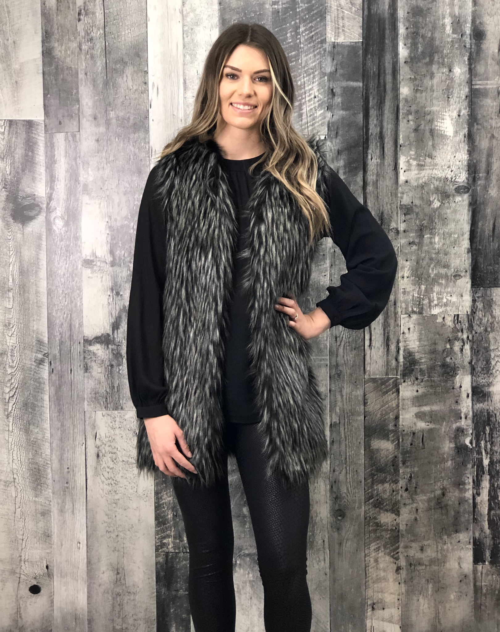 Dark Faux Fur Vest