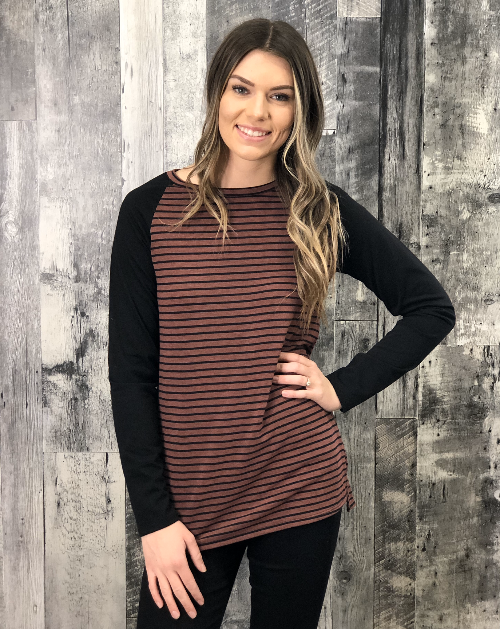 Burgundy Elbow Patch Striped Top 84556