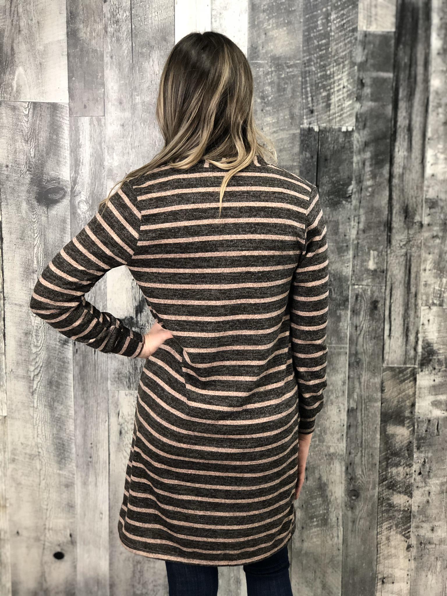 Blush\Chocolate Striped Lightweight Cardigan