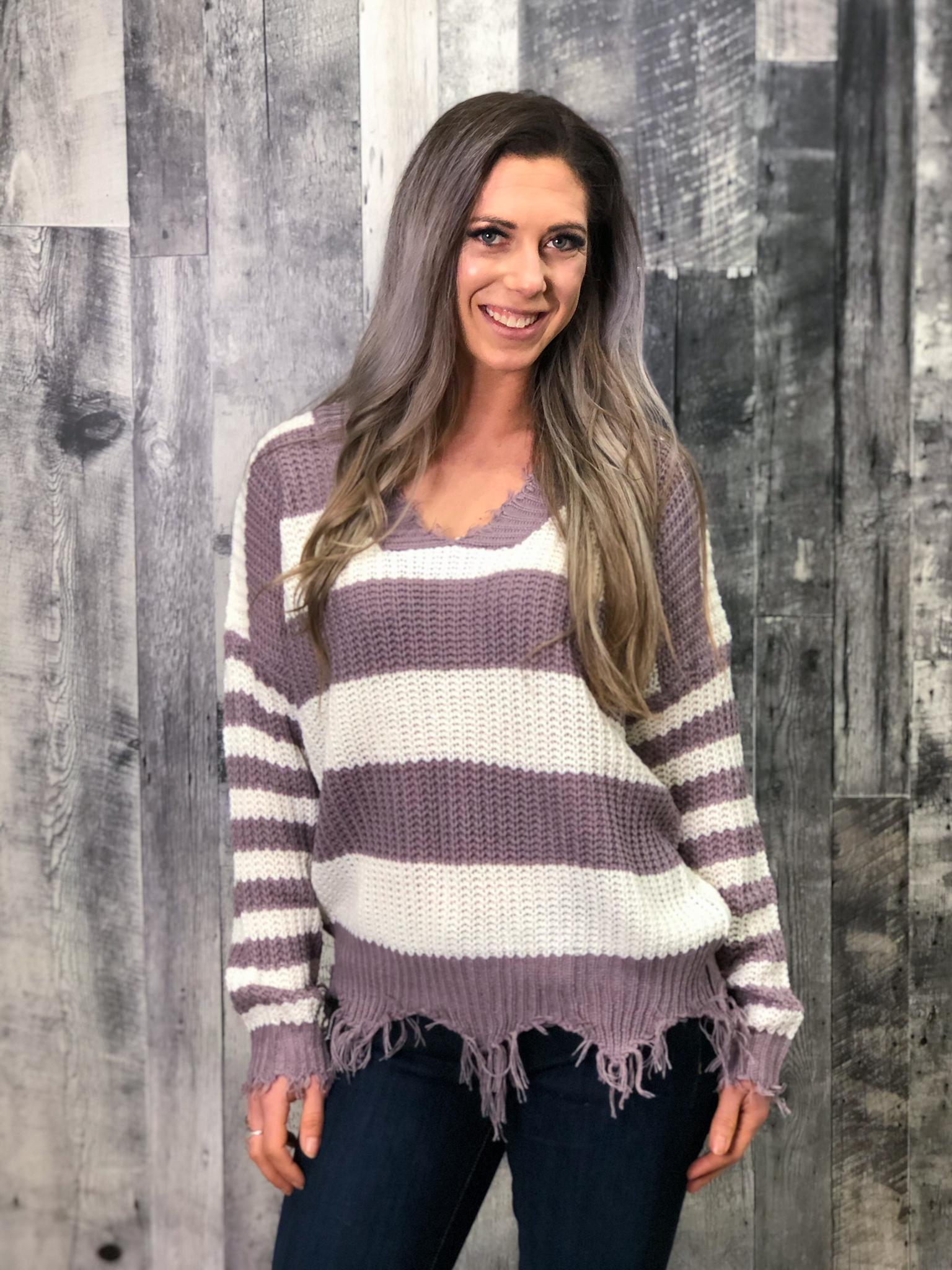 Purple & White Knit Sweater with frey finish 84648