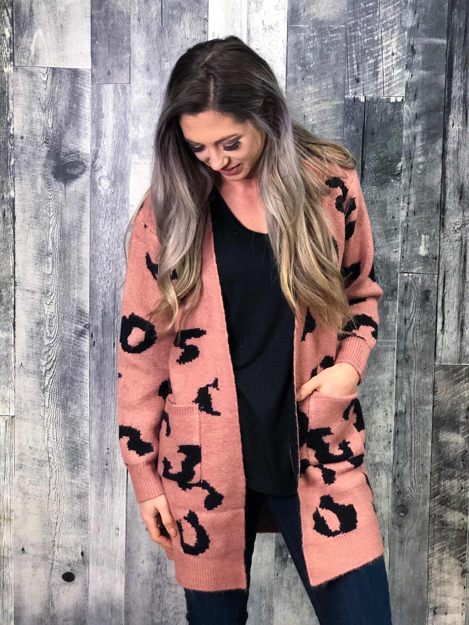 Blush Animal Print Cardigan 84636