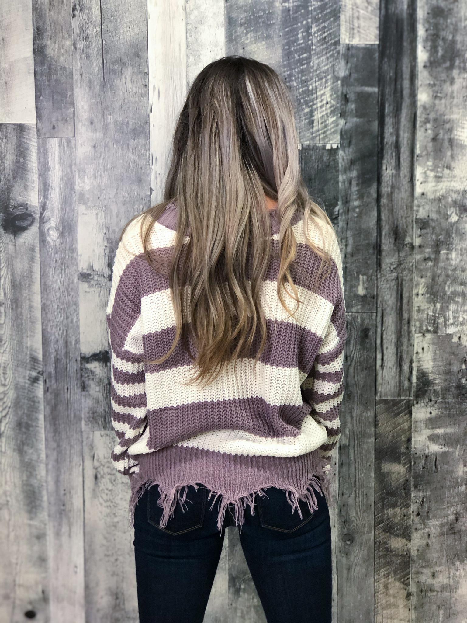 Purple & White Knit Sweater with frey finish
