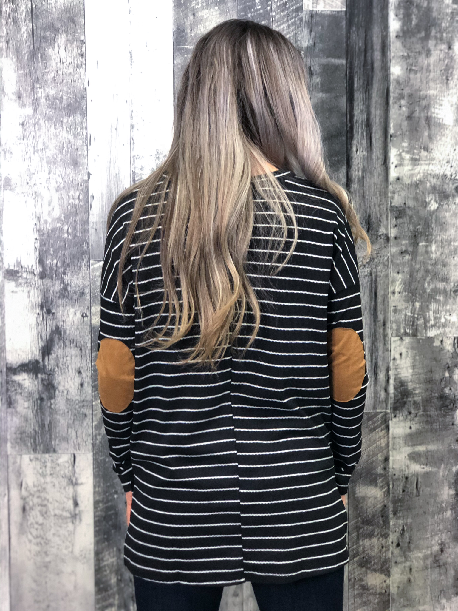 Black & White Striped Long Sleeve with elbow patches