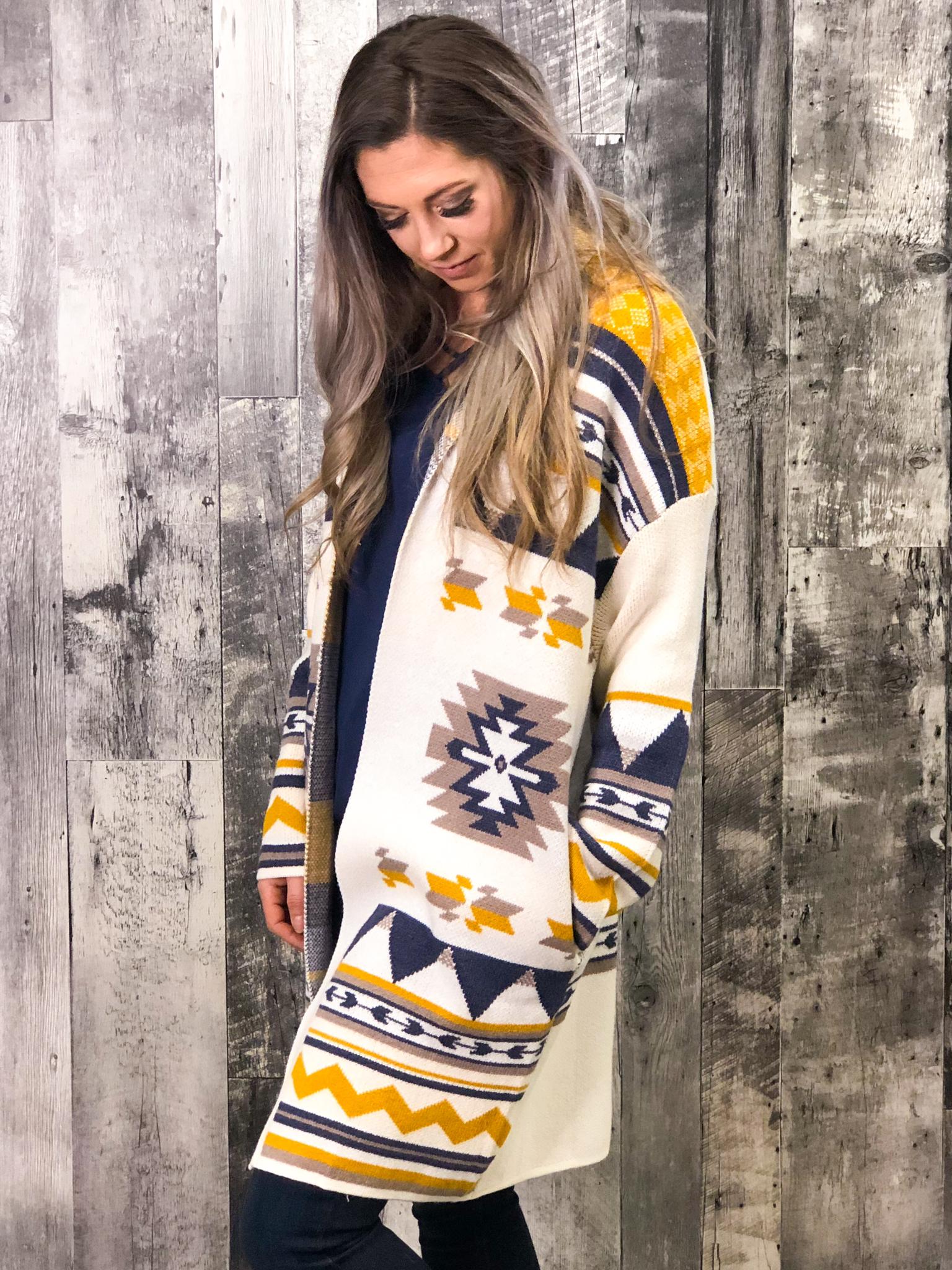 Navy & Mustard Aztec Cardigan