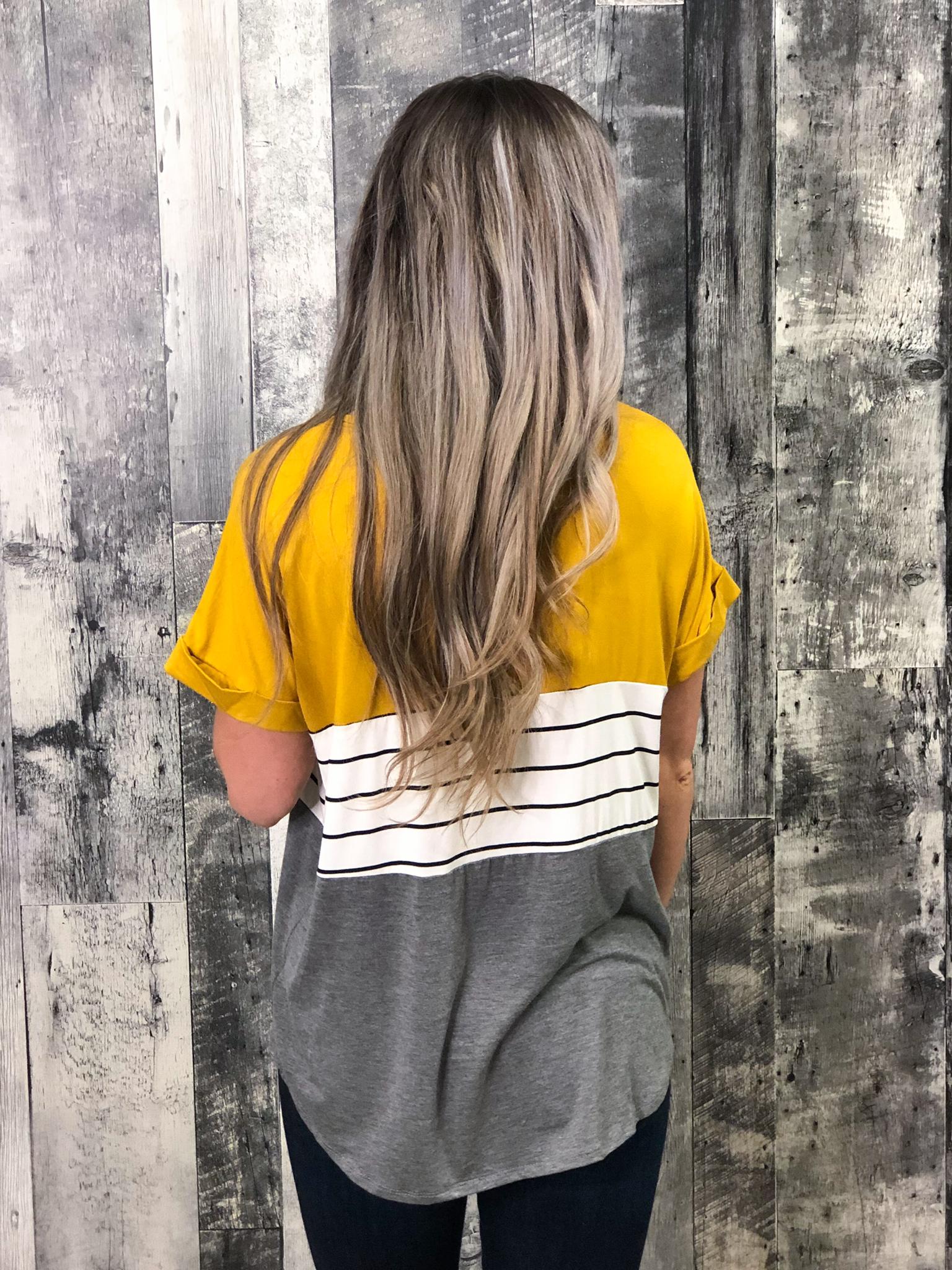 Mustard & Grey Color Block Top