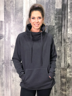 Athletic Cowl Neck Sweater - Charcoal - RESTOCKED