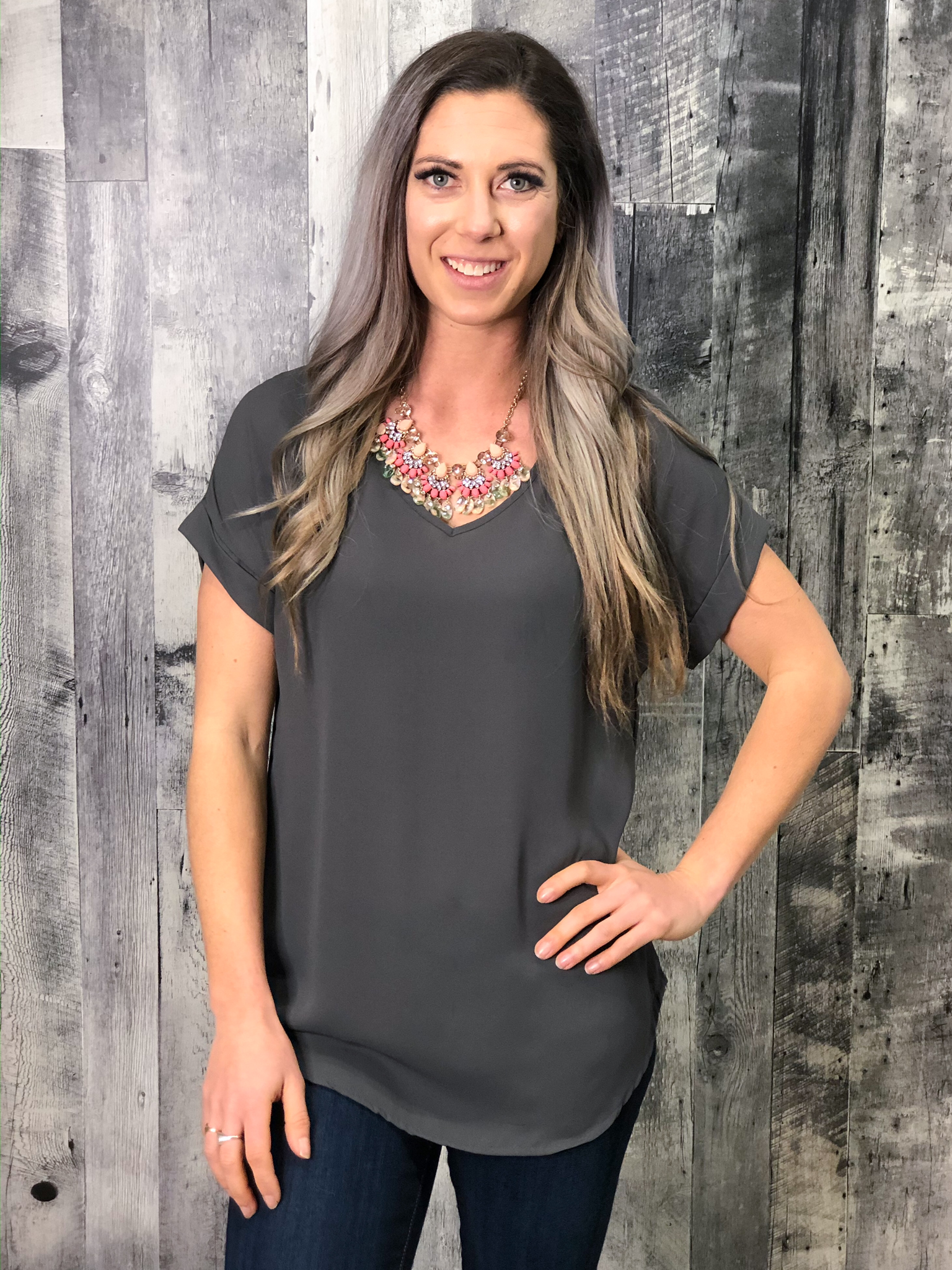 Grey V-Neck Blouse 84766