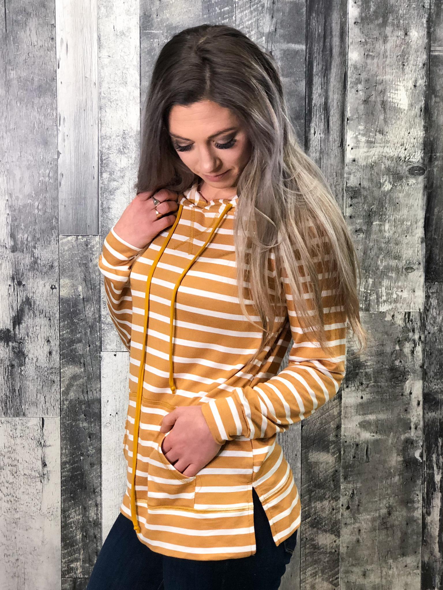 Mustard Striped Lightweight Hoodie