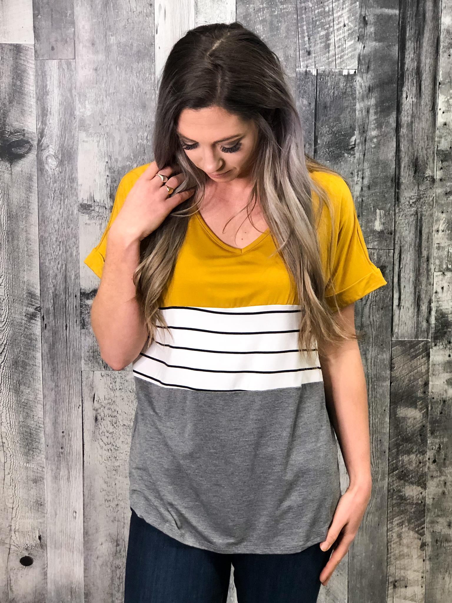 Mustard & Grey Color Block Top 84771