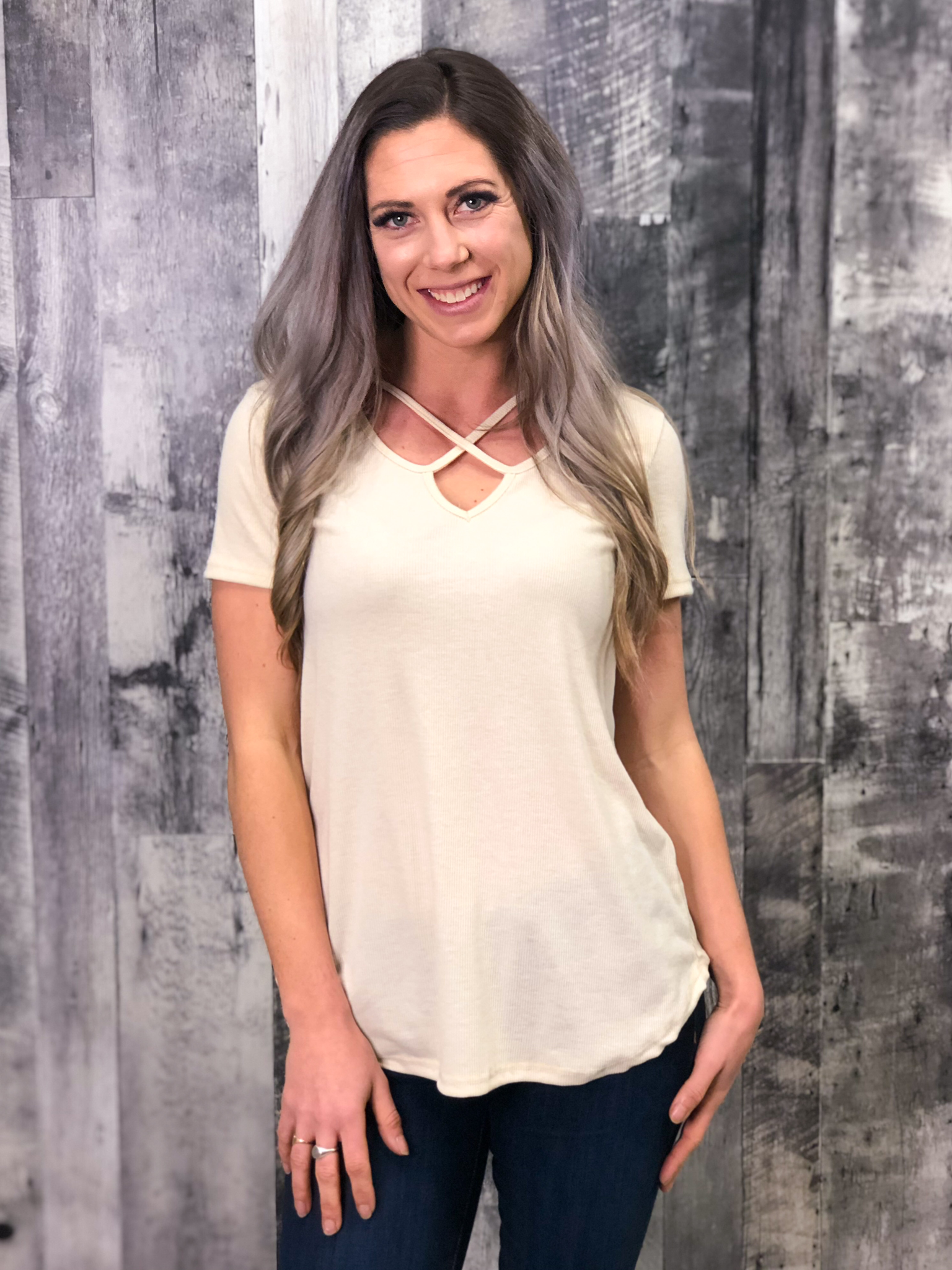 Strappy Ivory Tee with ribbing 84745