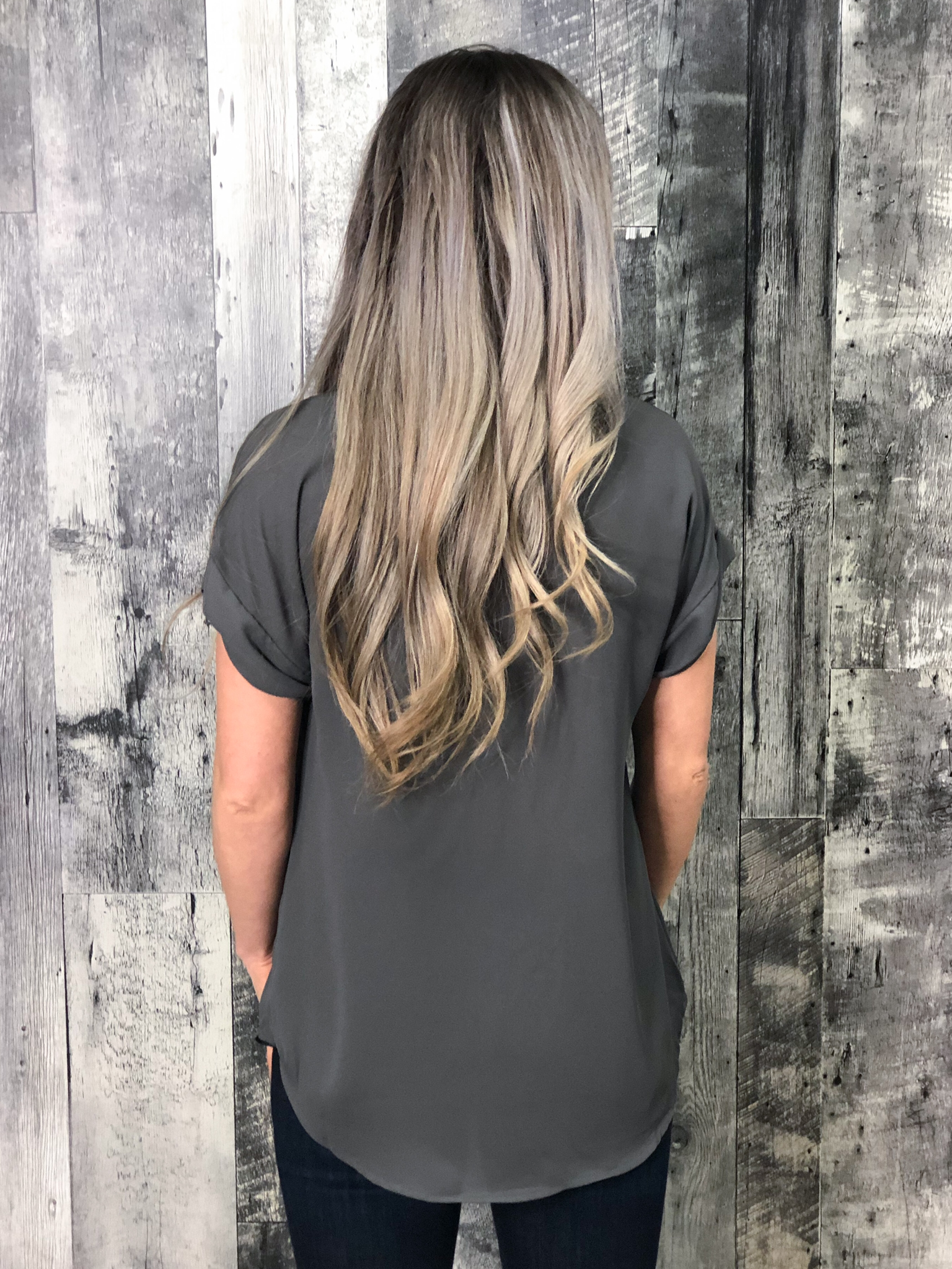 Grey V-Neck Blouse