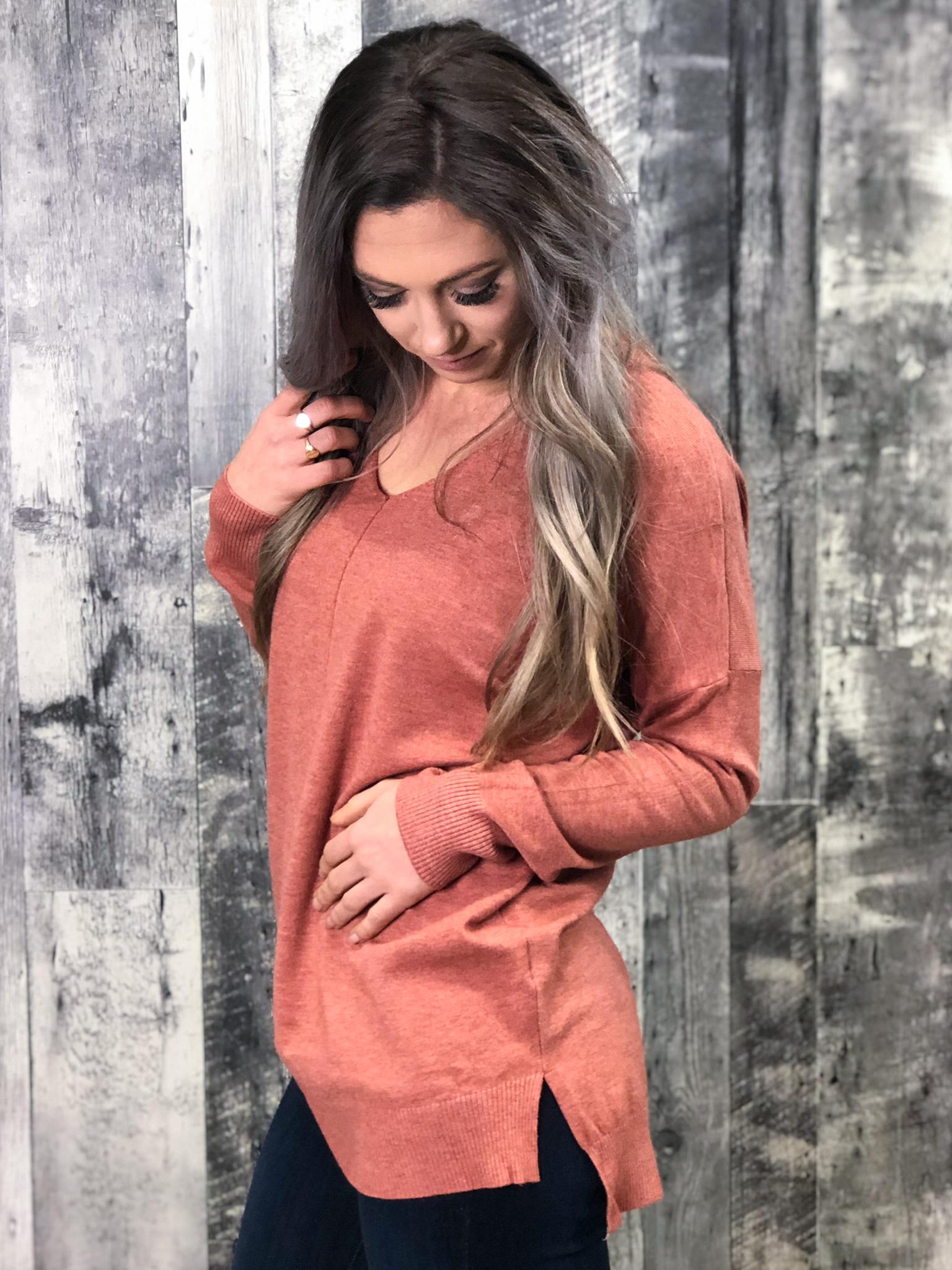 Dusty Rose V-Neck Sweatshirt