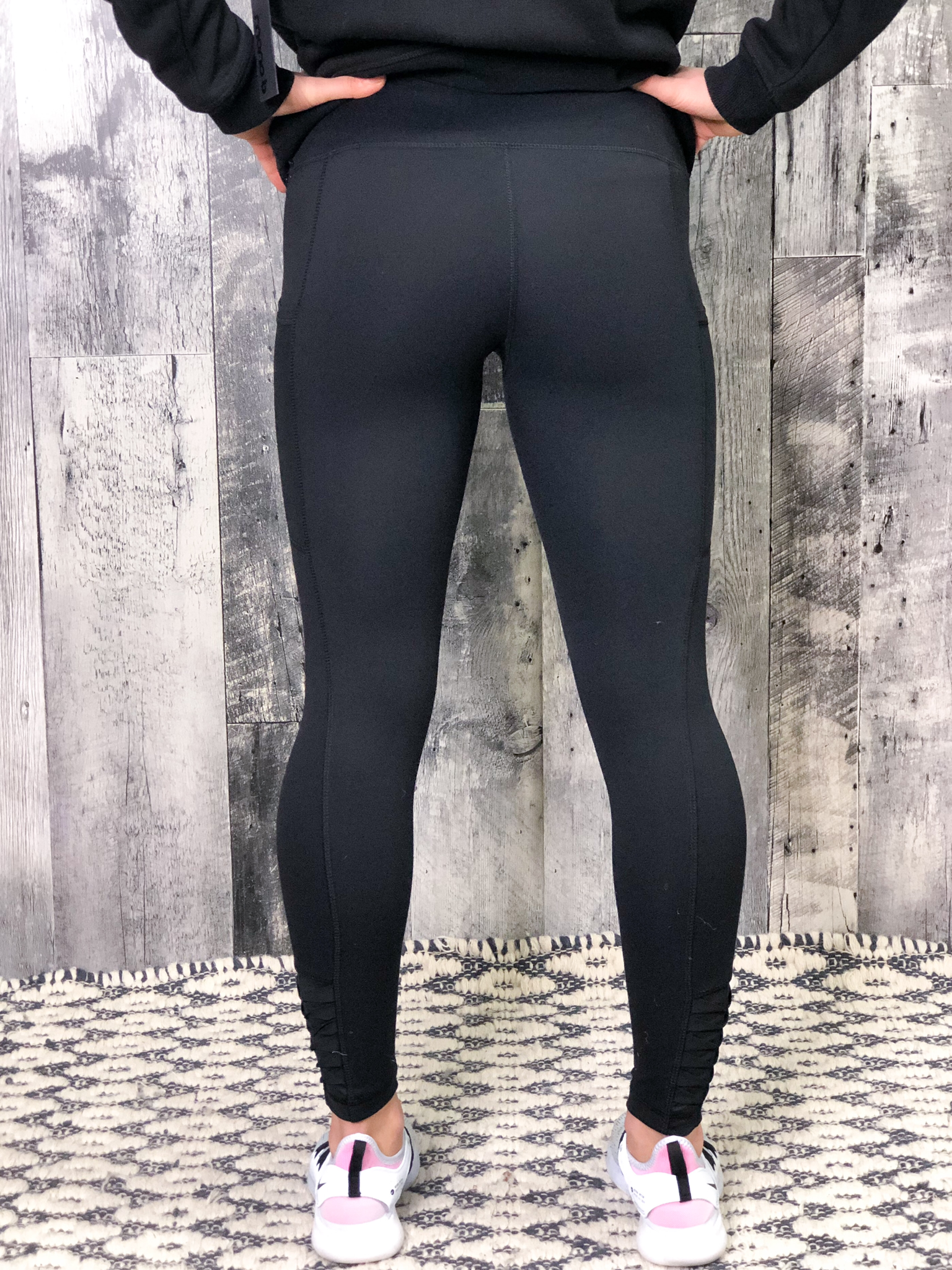 Athletic Legging With Mesh Pocket And Ruffle Ankle Detail