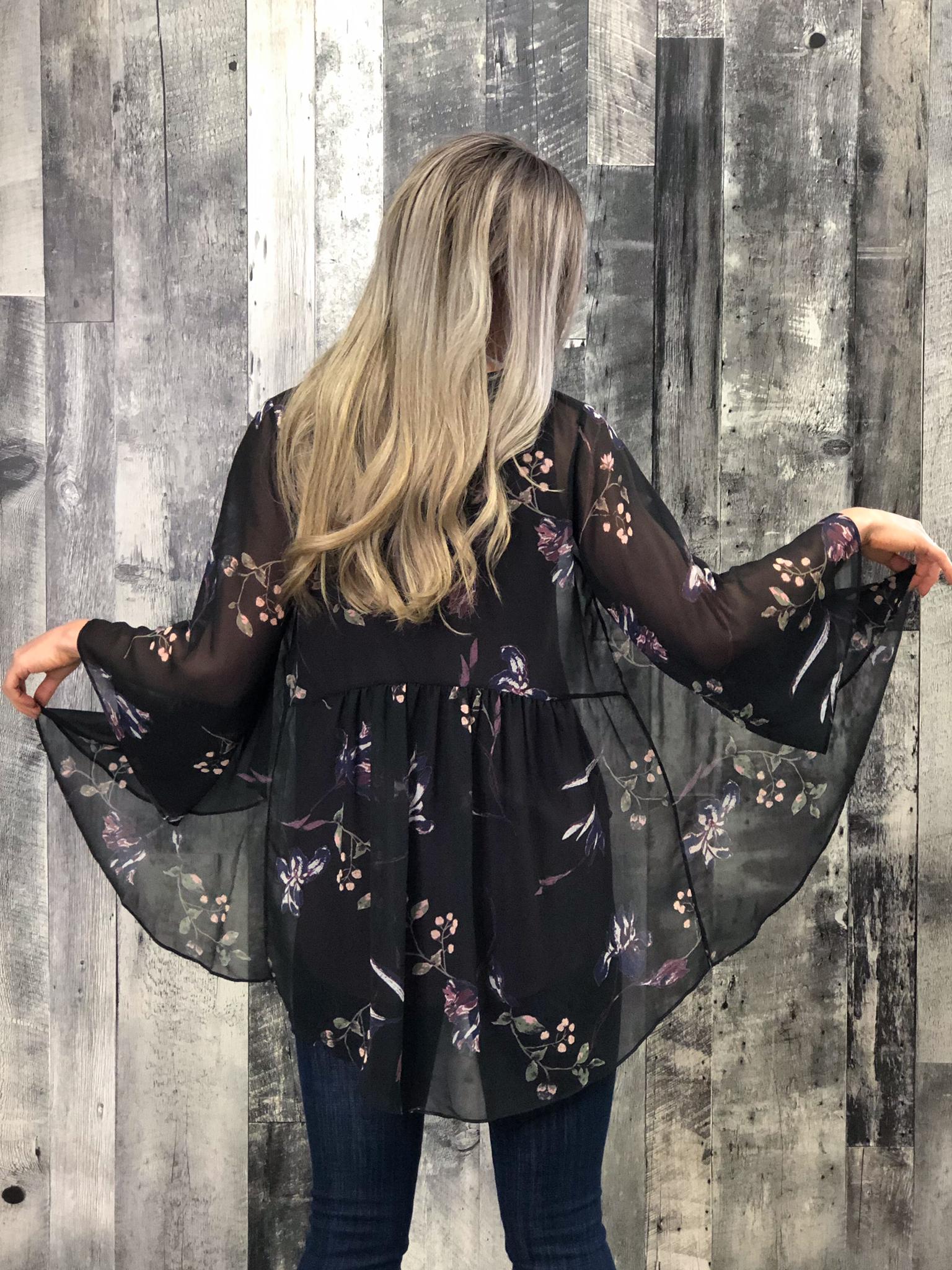 Black Floral Kimono