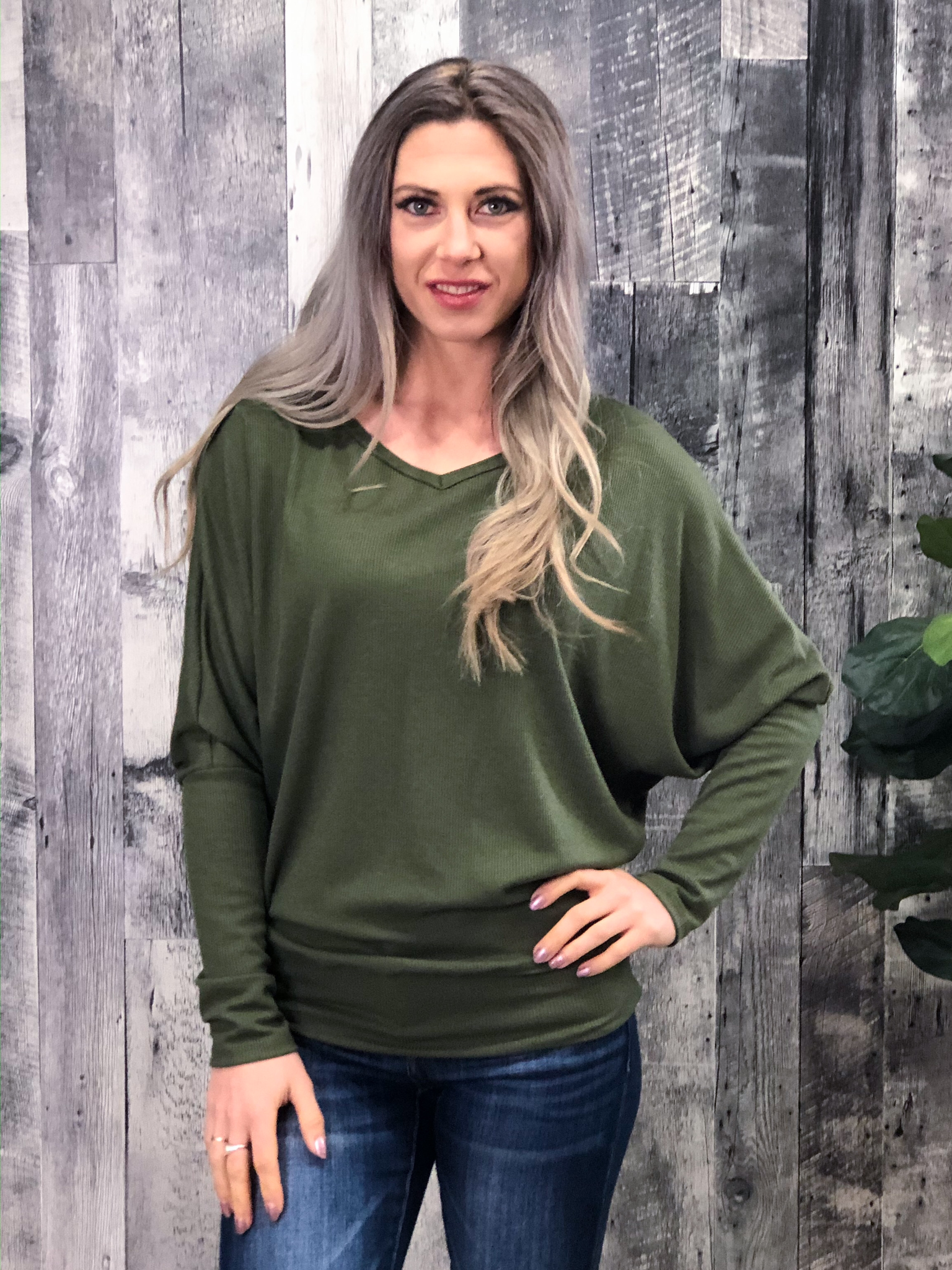 Olive Thermal Long Sleeve Dolman 99999994
