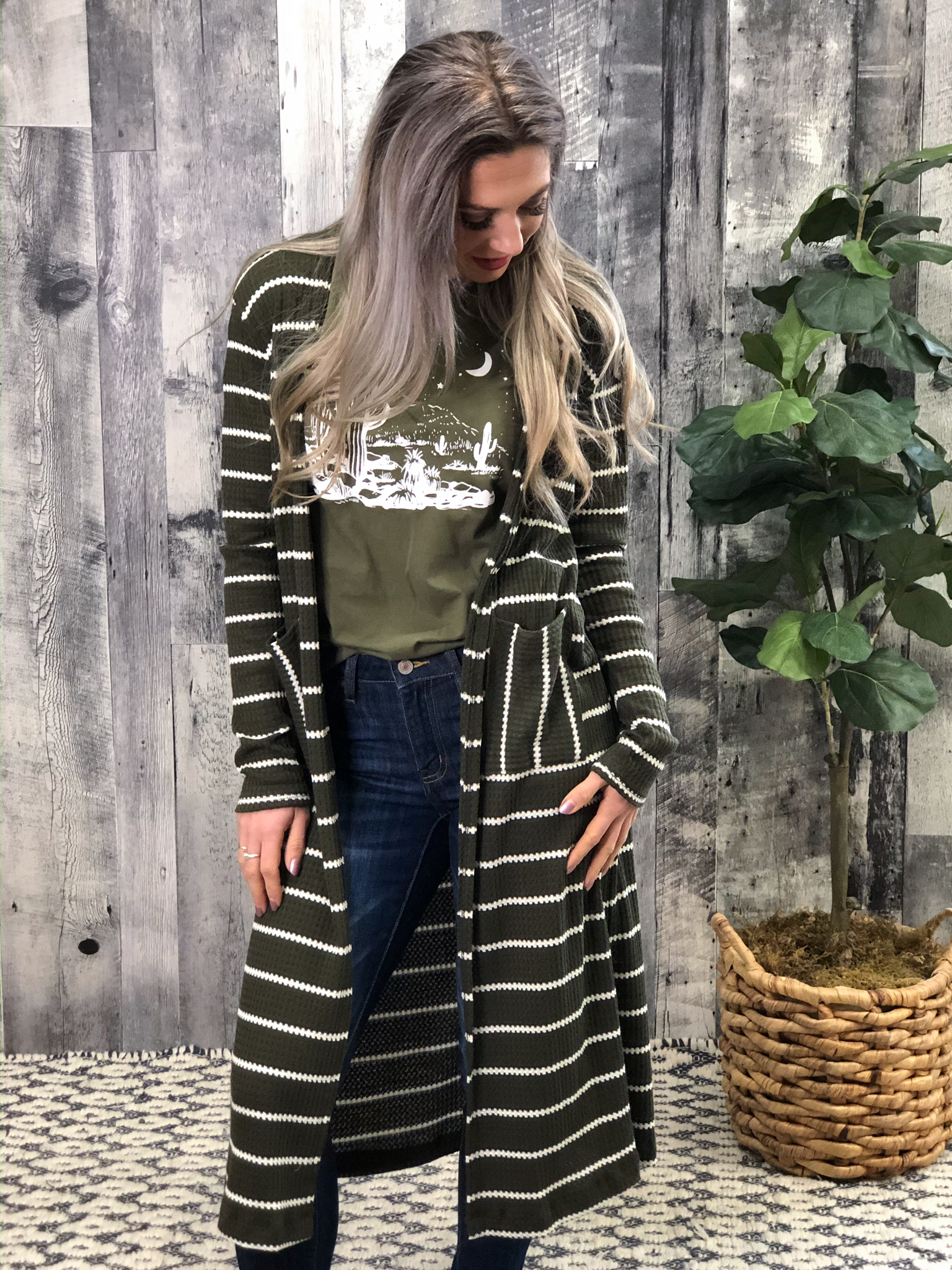 Thermal Cardigan with Stripes - Olive 999991