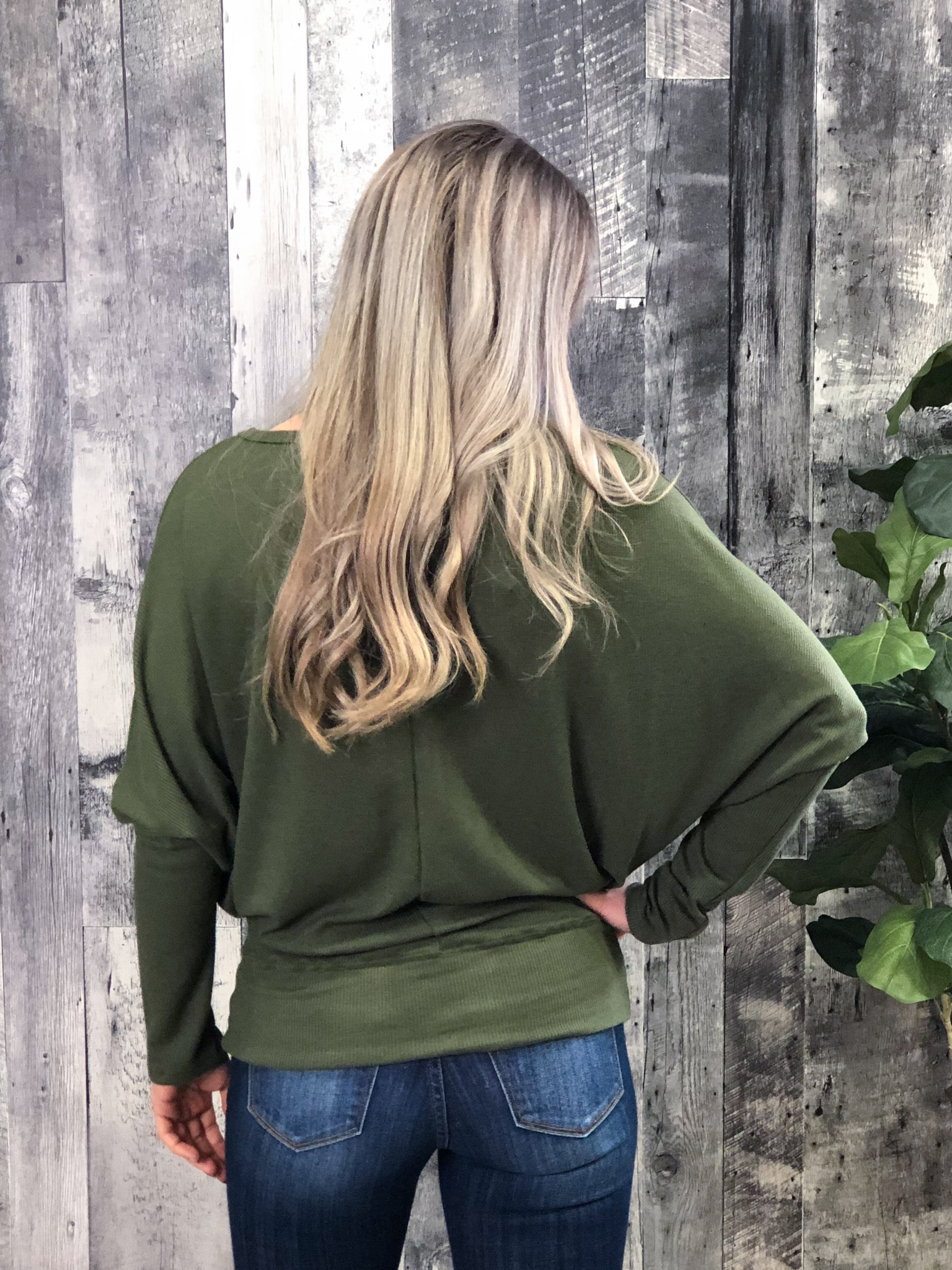 Olive Thermal Long Sleeve Dolman