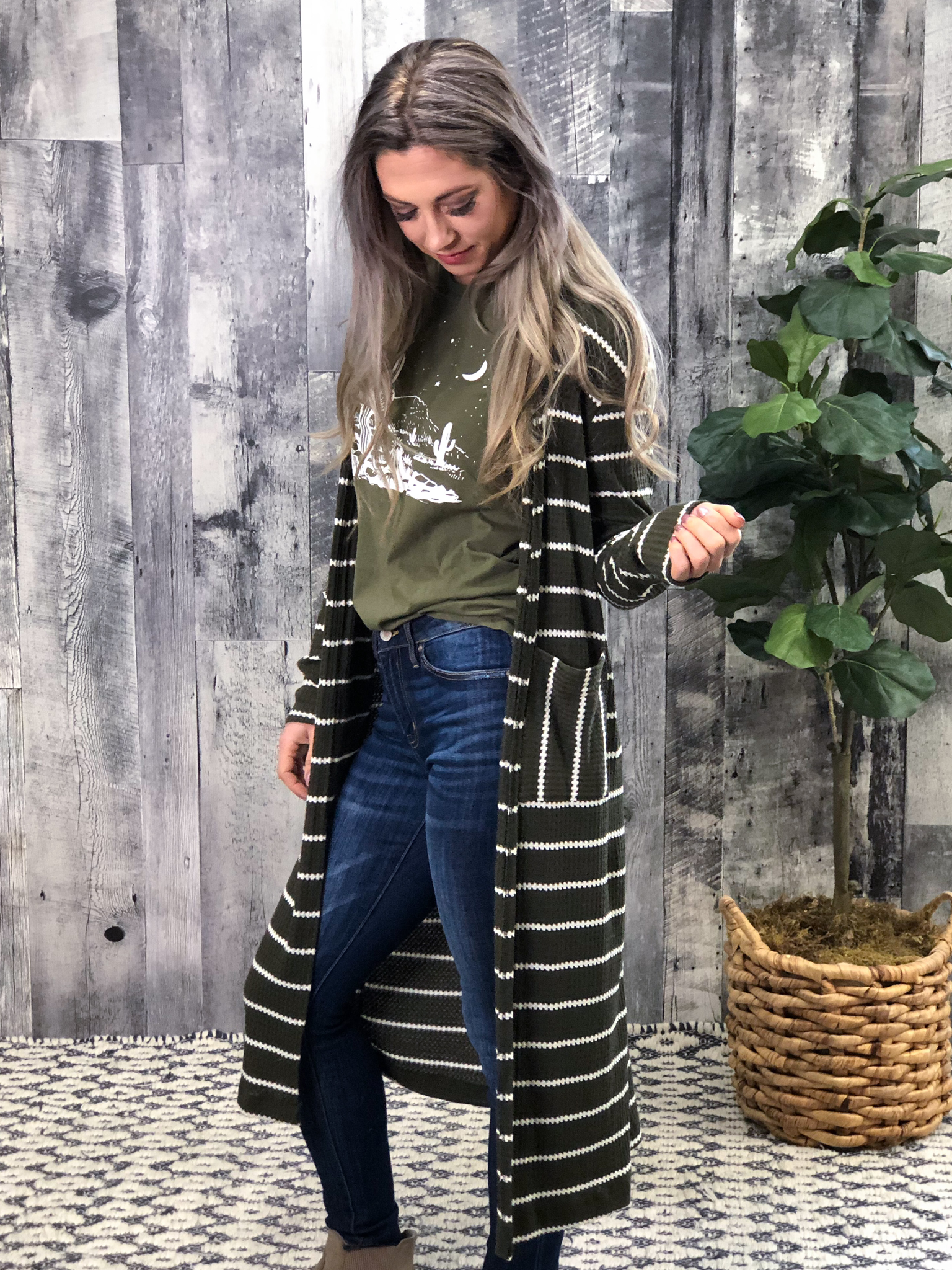 Thermal Cardigan with Stripes - Olive
