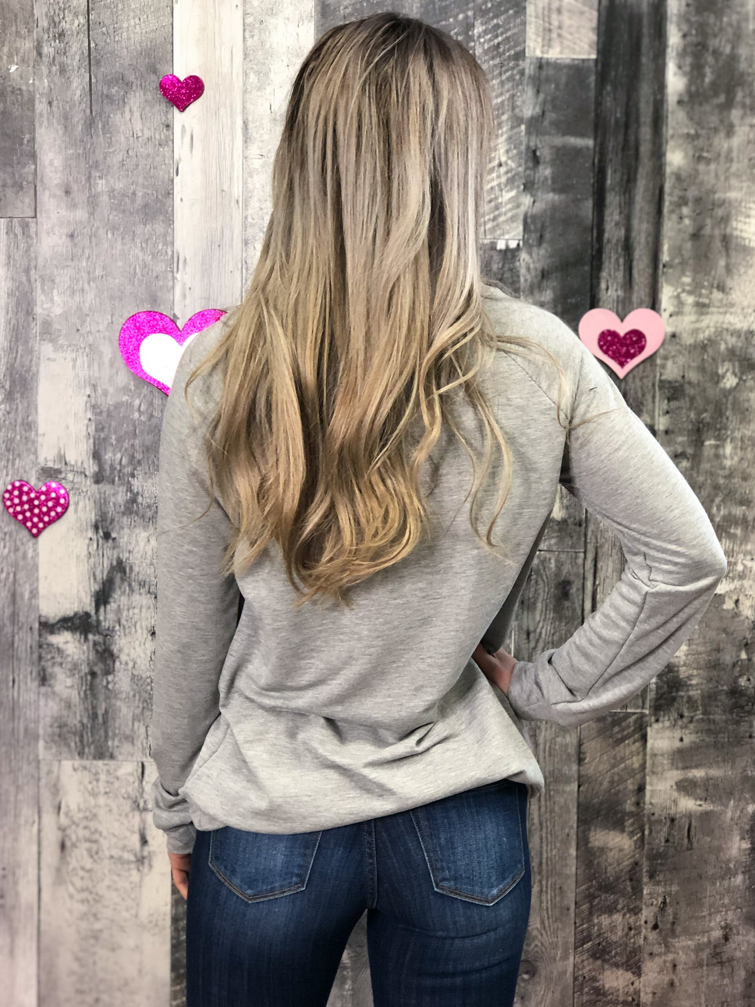 Grey Sweater with Leopard Heart
