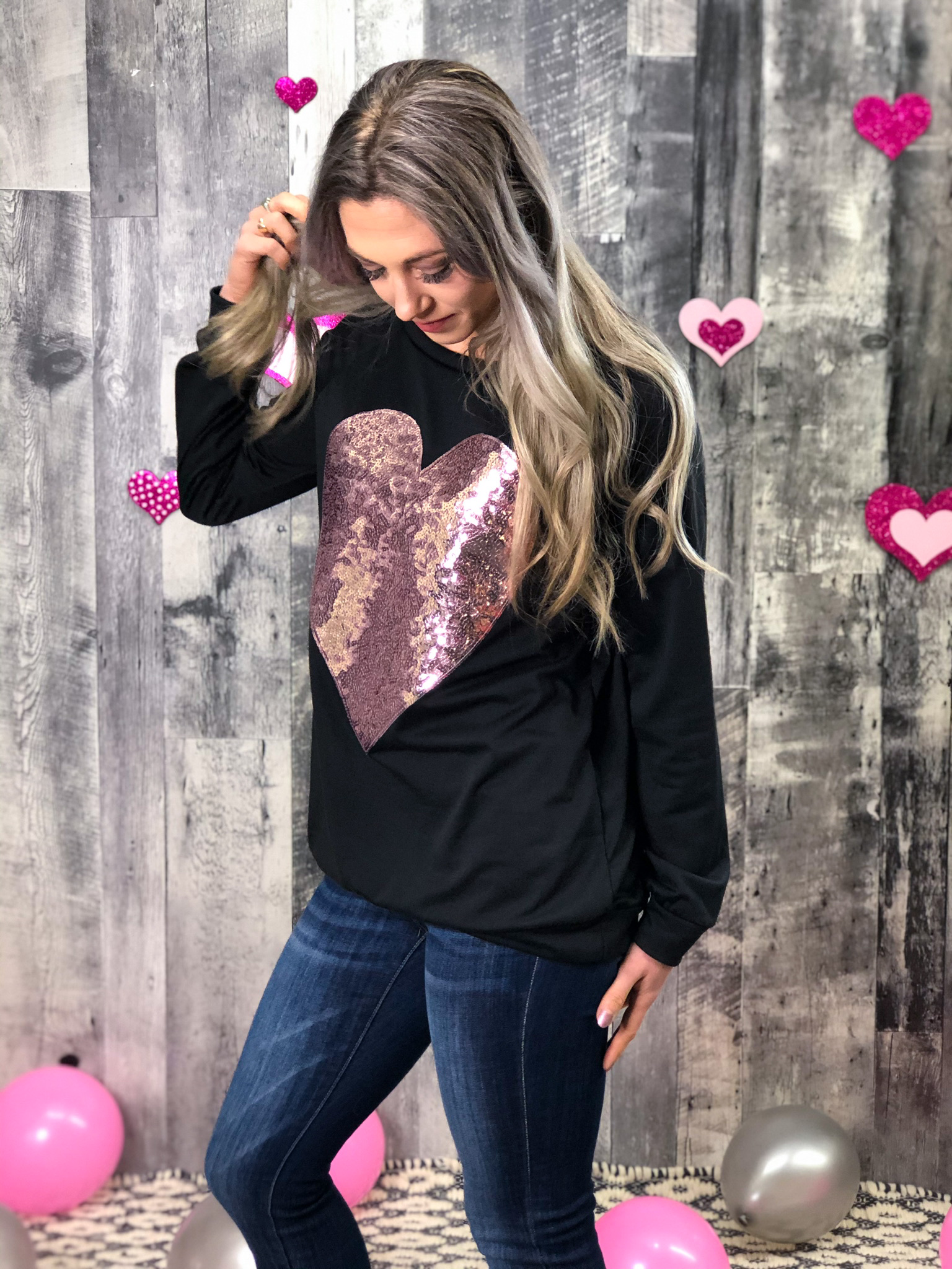 Black Sweater with Pink Sequin Heart