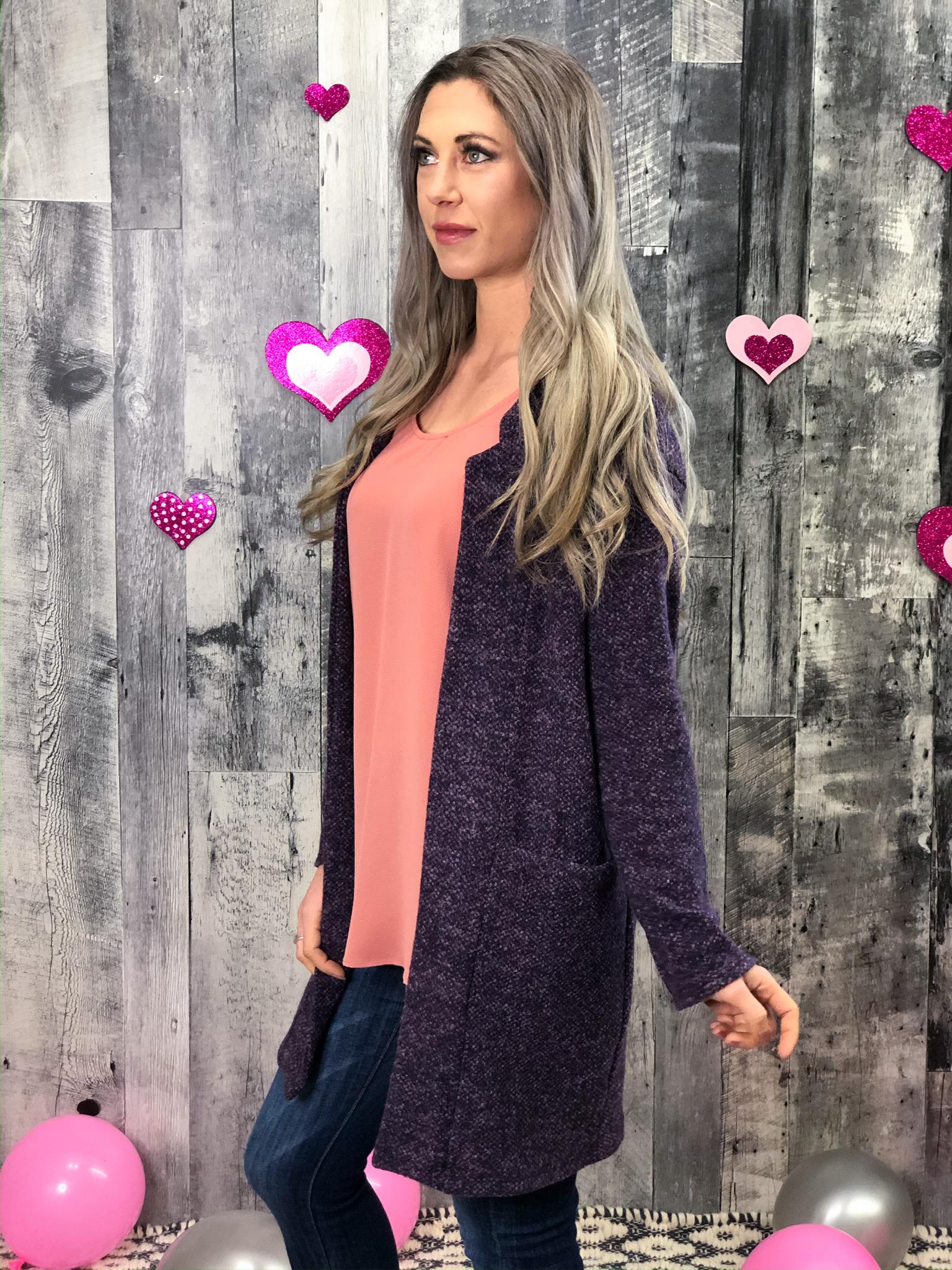 Heathered Purple Dress Cardigan