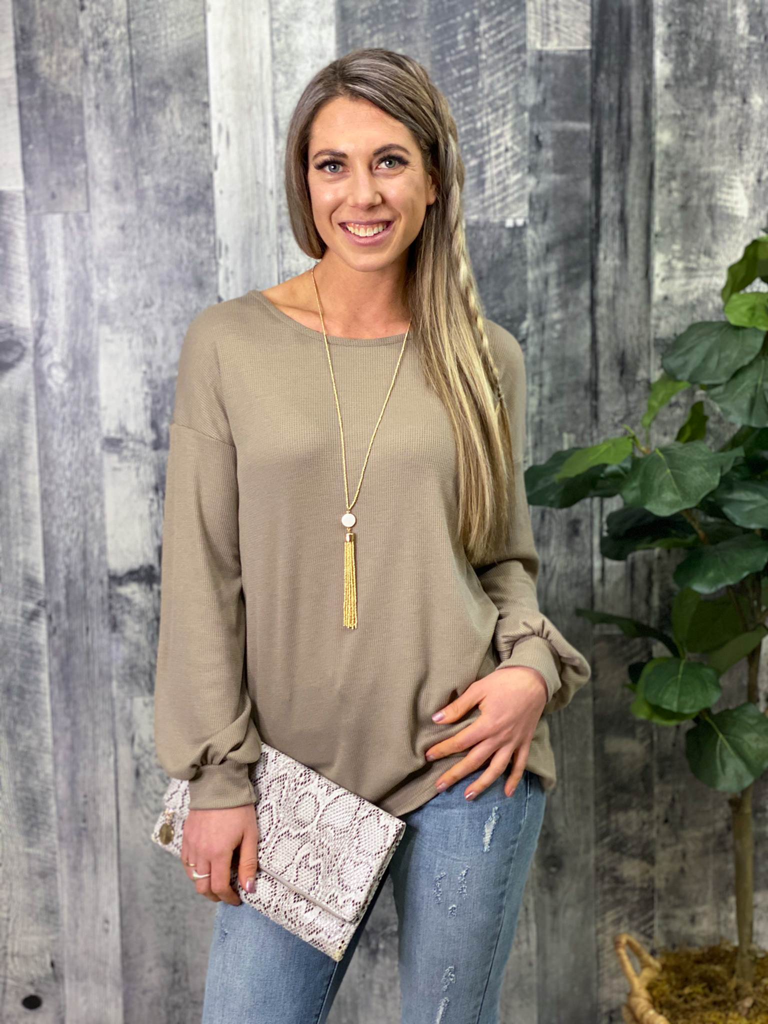 Criss Cross Back Long Sleeve Top - Taupe 3008