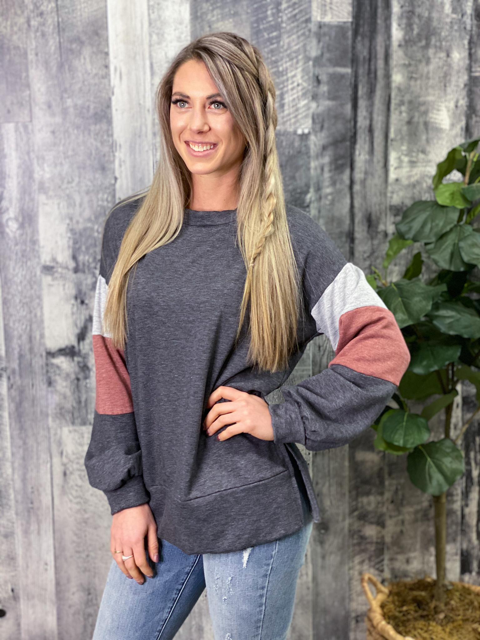 Charcoal Sweatshirt with Color Block Sleeves