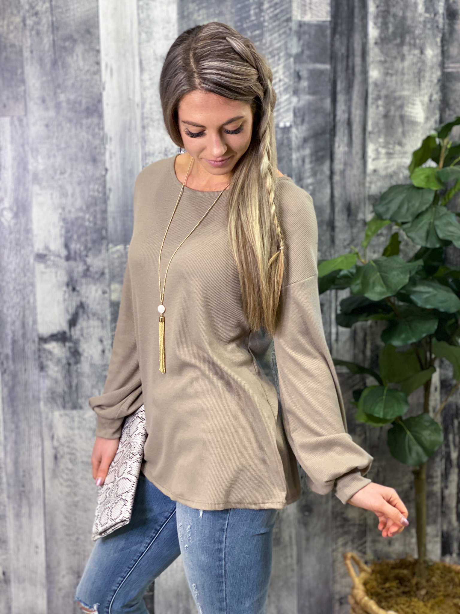 Criss Cross Back Long Sleeve Top - Taupe