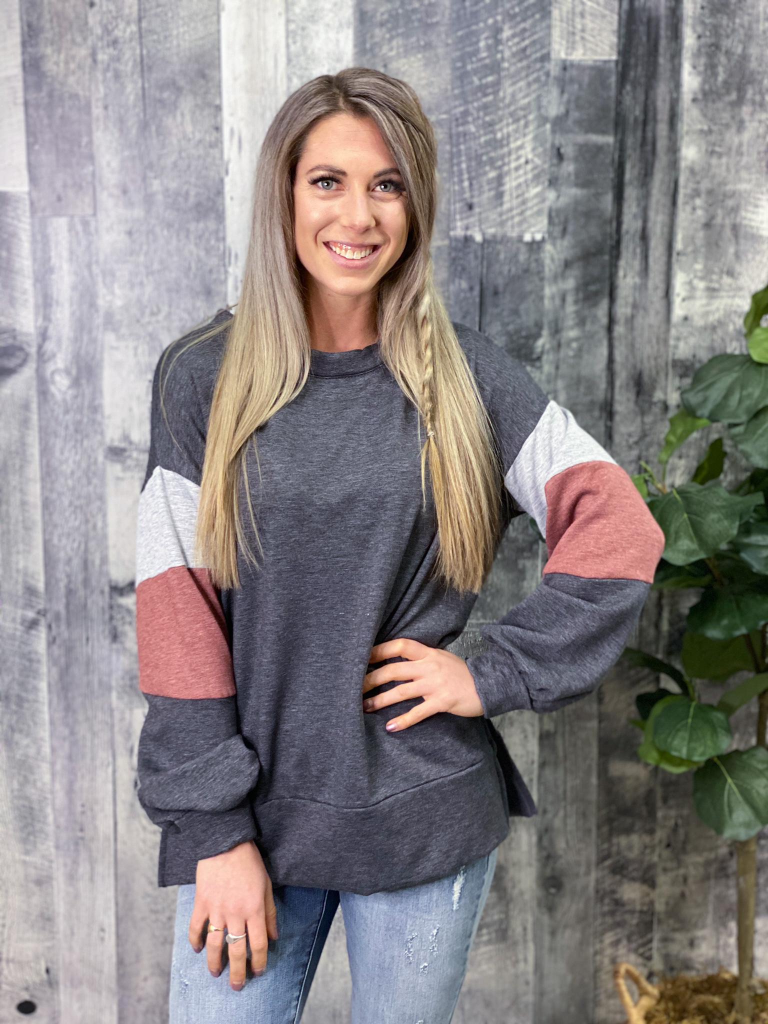 Charcoal Sweatshirt with Color Block Sleeves 3012