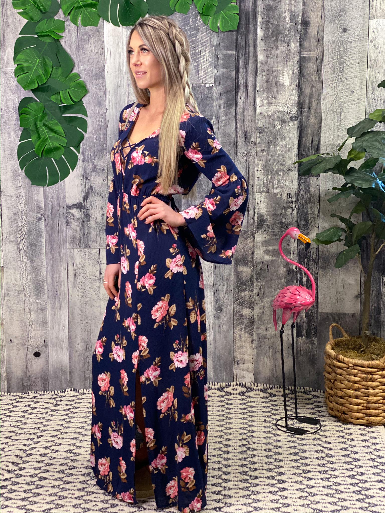Deep V Navy Floral Maxi Dress