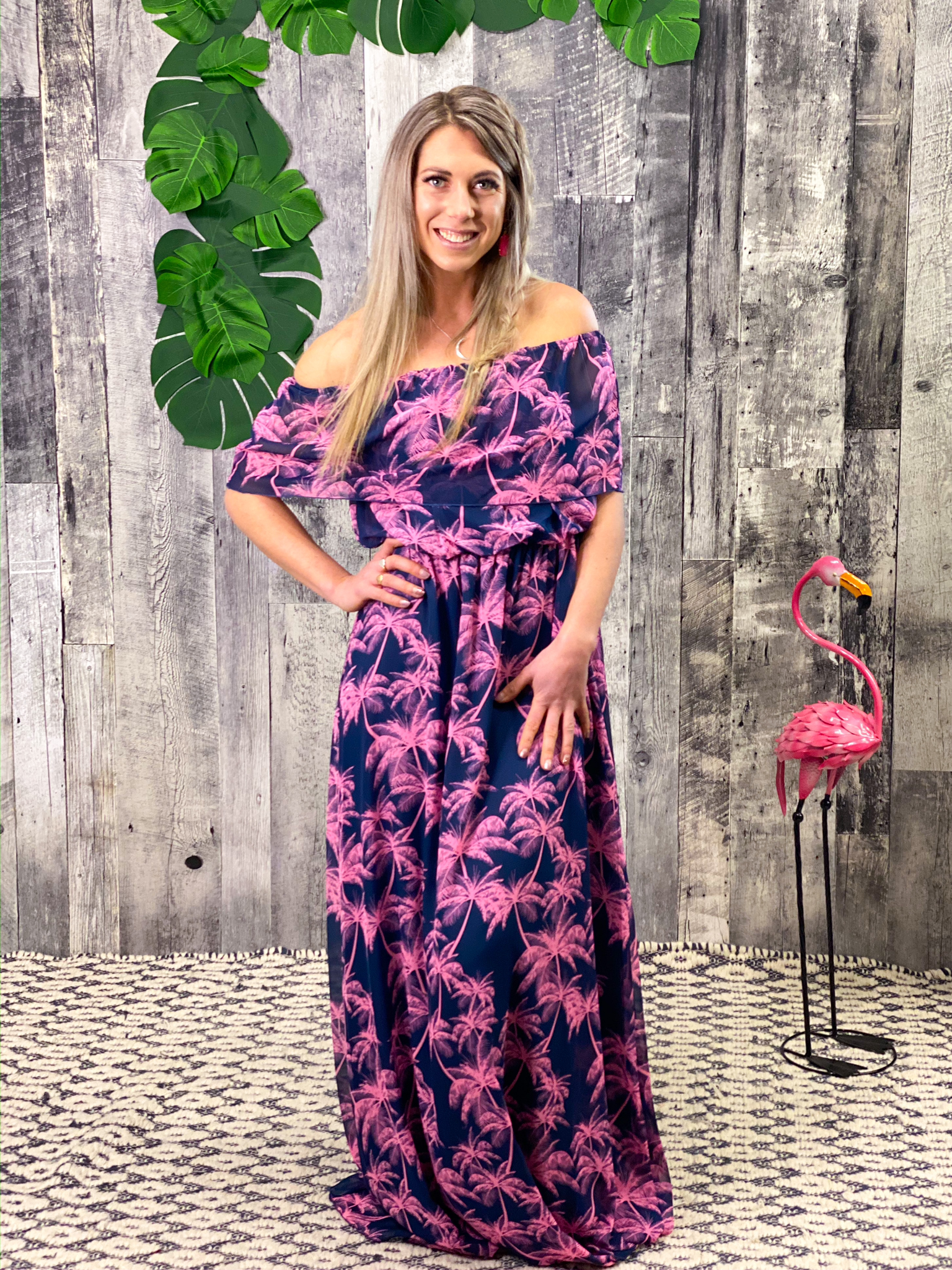 Off shoulder ruffle Navy Pink Palm Tree Dress 84884
