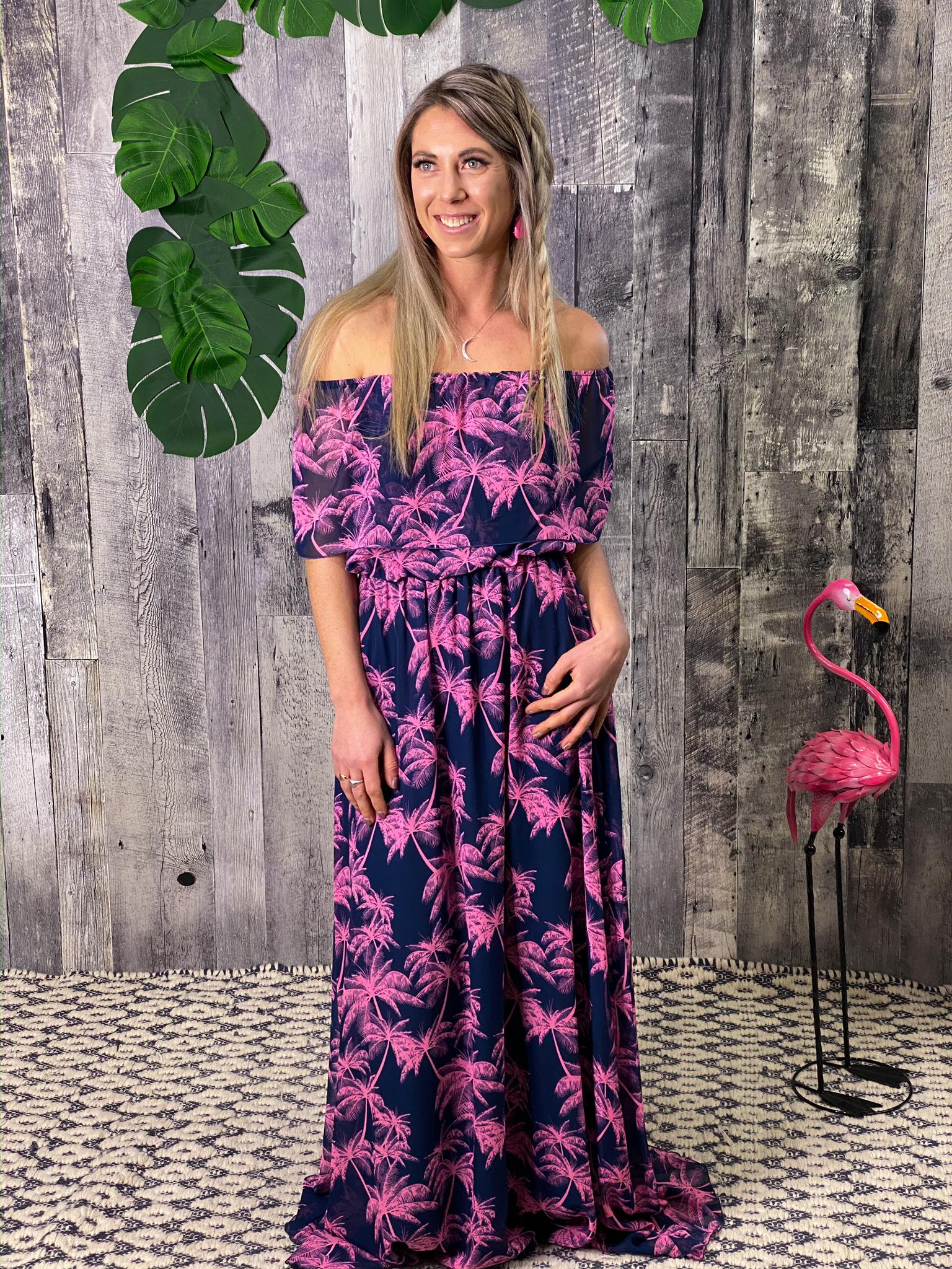 Off shoulder ruffle Navy Pink Palm Tree Dress