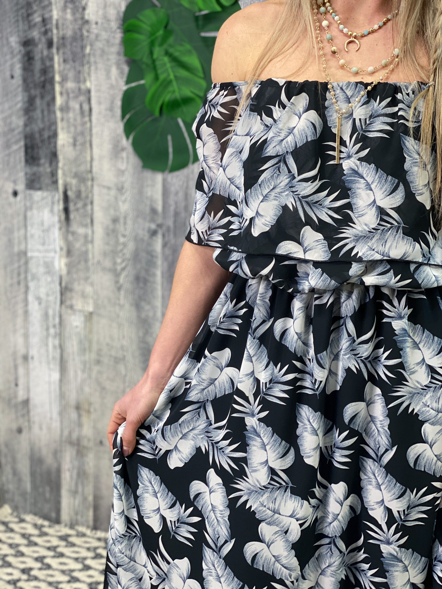 Off shoulder ruffle Black and White Palm Leaf Dress