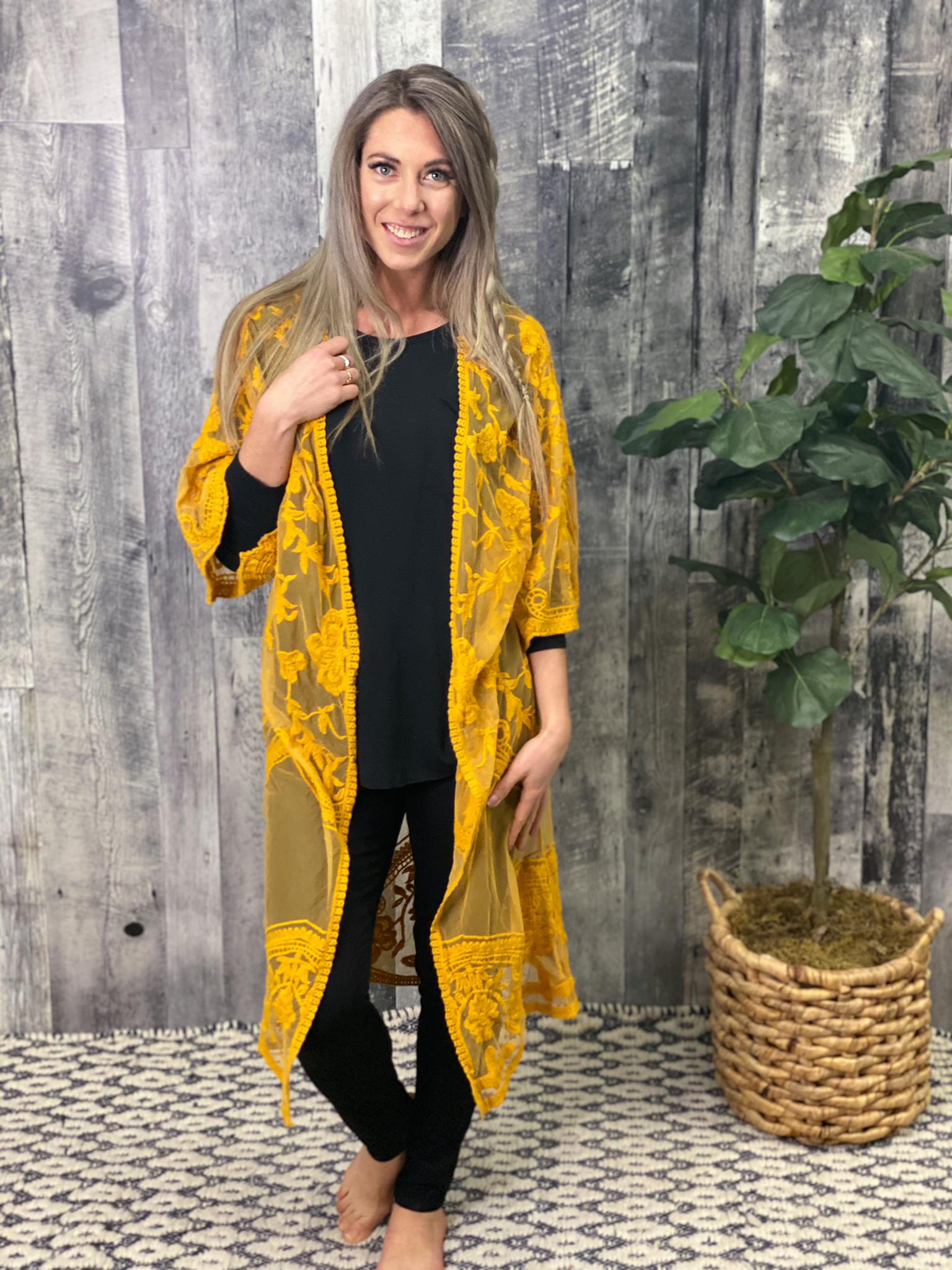 Mustard Lace Kimono 84903