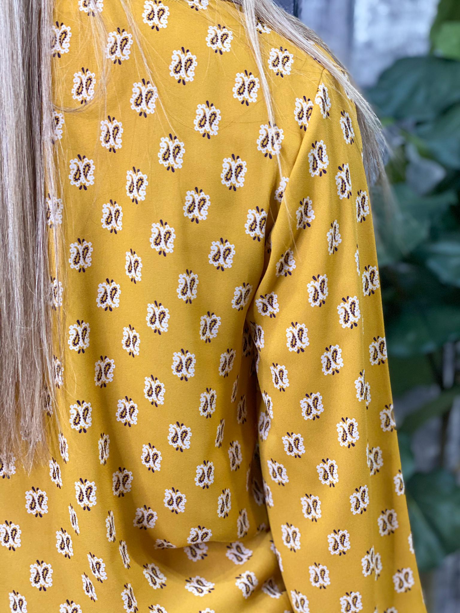Long Sleeve Mustard Tie Top