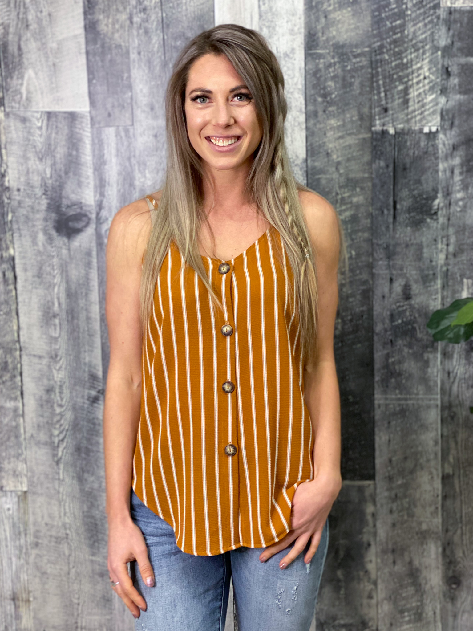 Stripped Tank with Buttons - Mustard 84942
