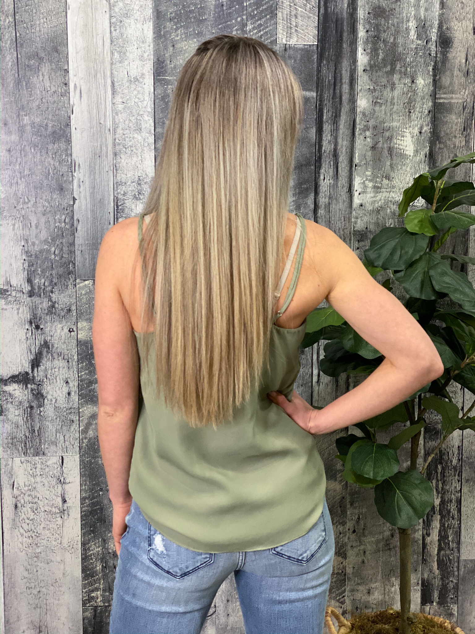 Lace Cami Tank - Olive
