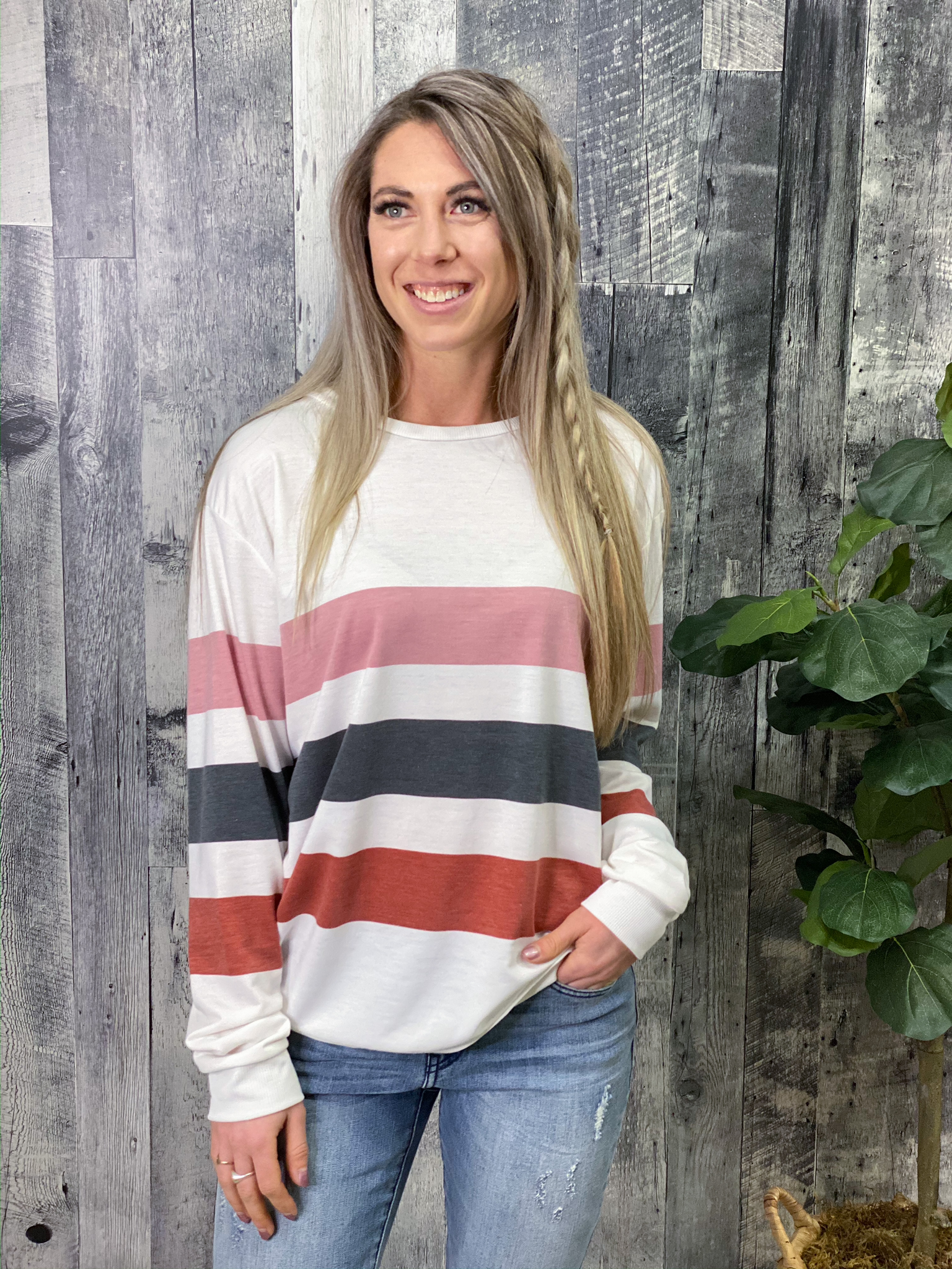 White Striped Sweatshirt 84971