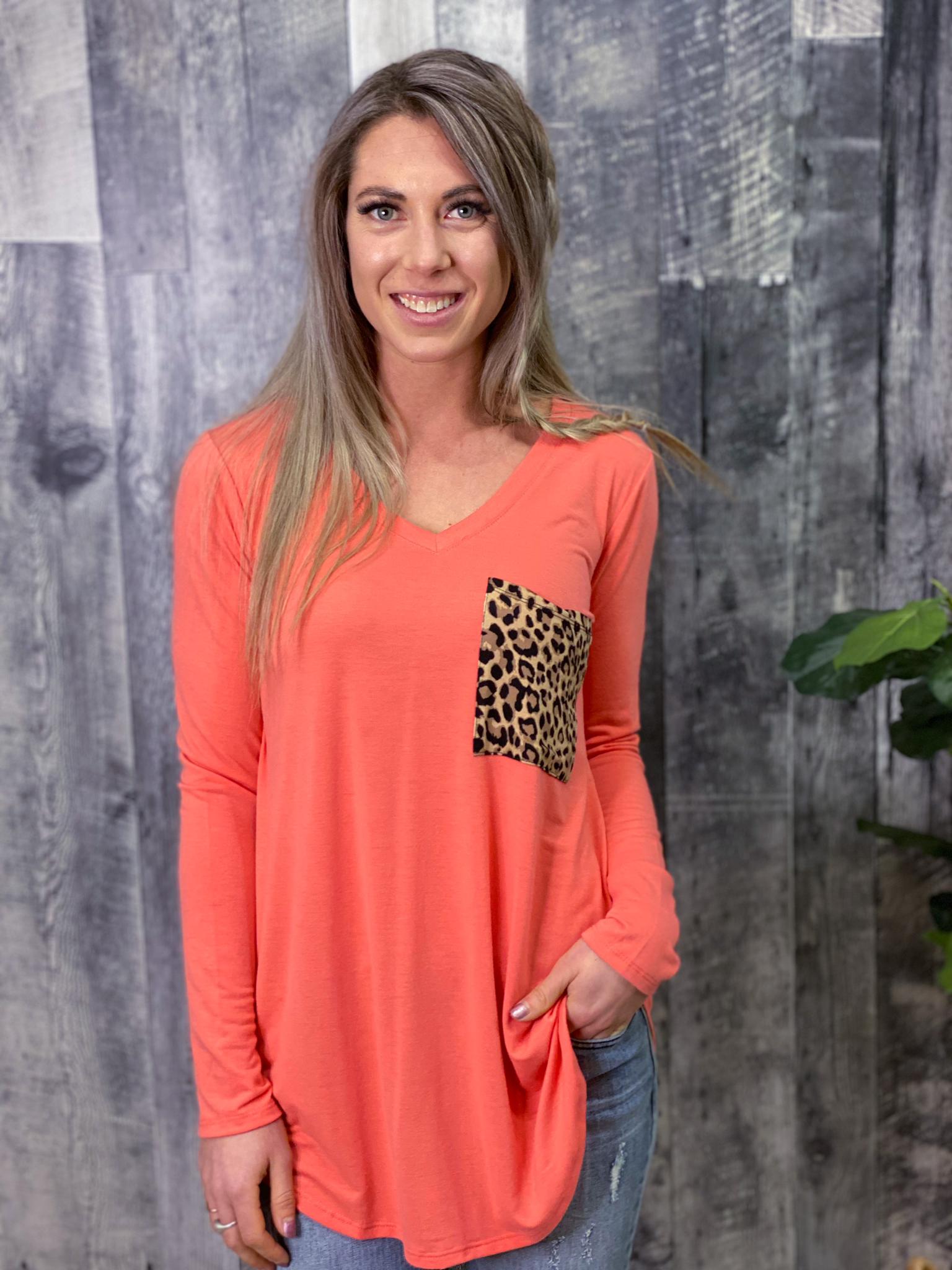 Coral Cheetah Pocket Top 84975