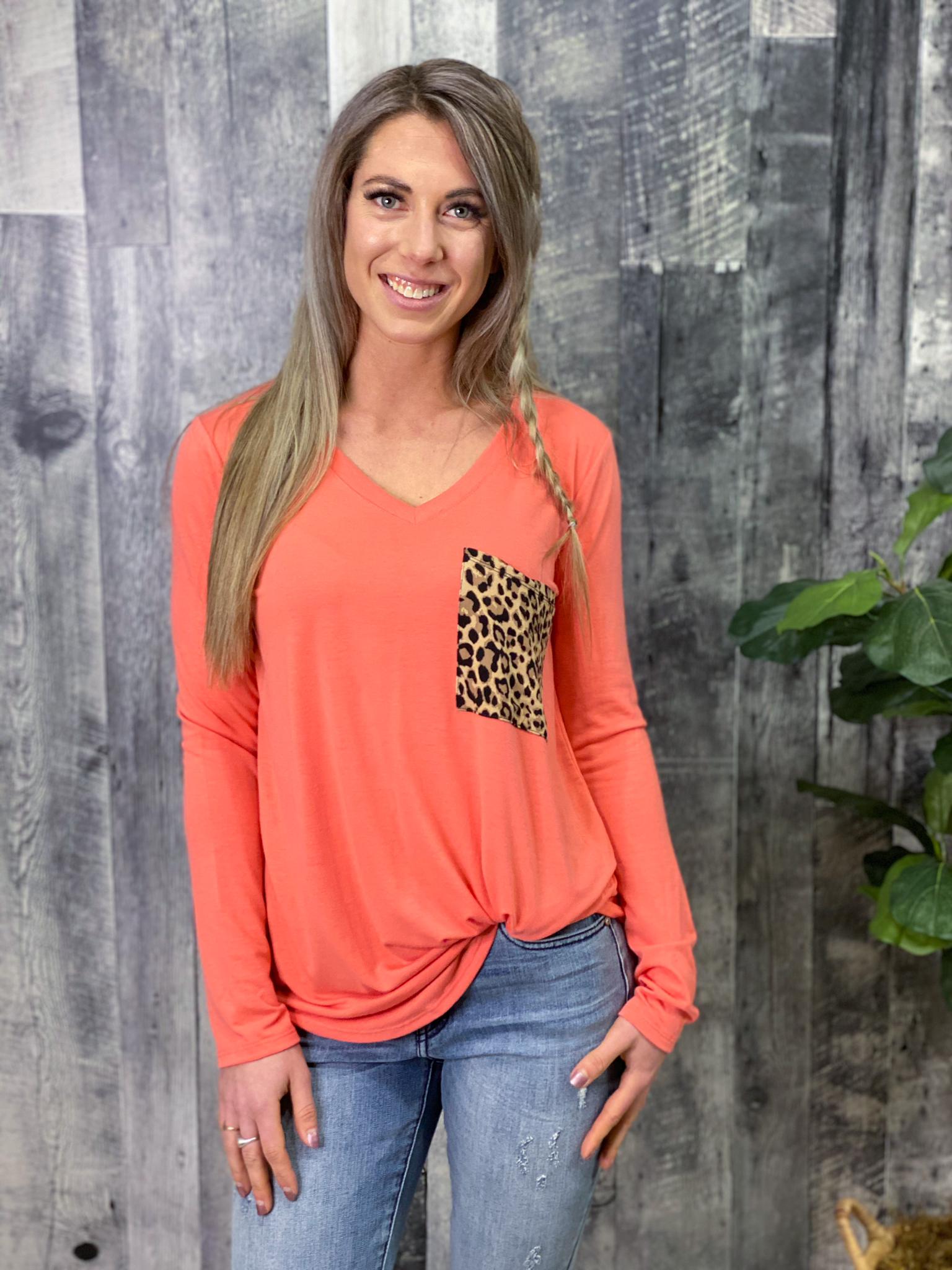 Coral Cheetah Pocket Top
