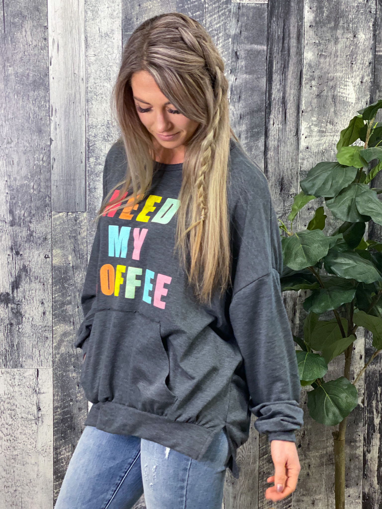 Need My Coffee Oversized Sweatshirt - Restocked