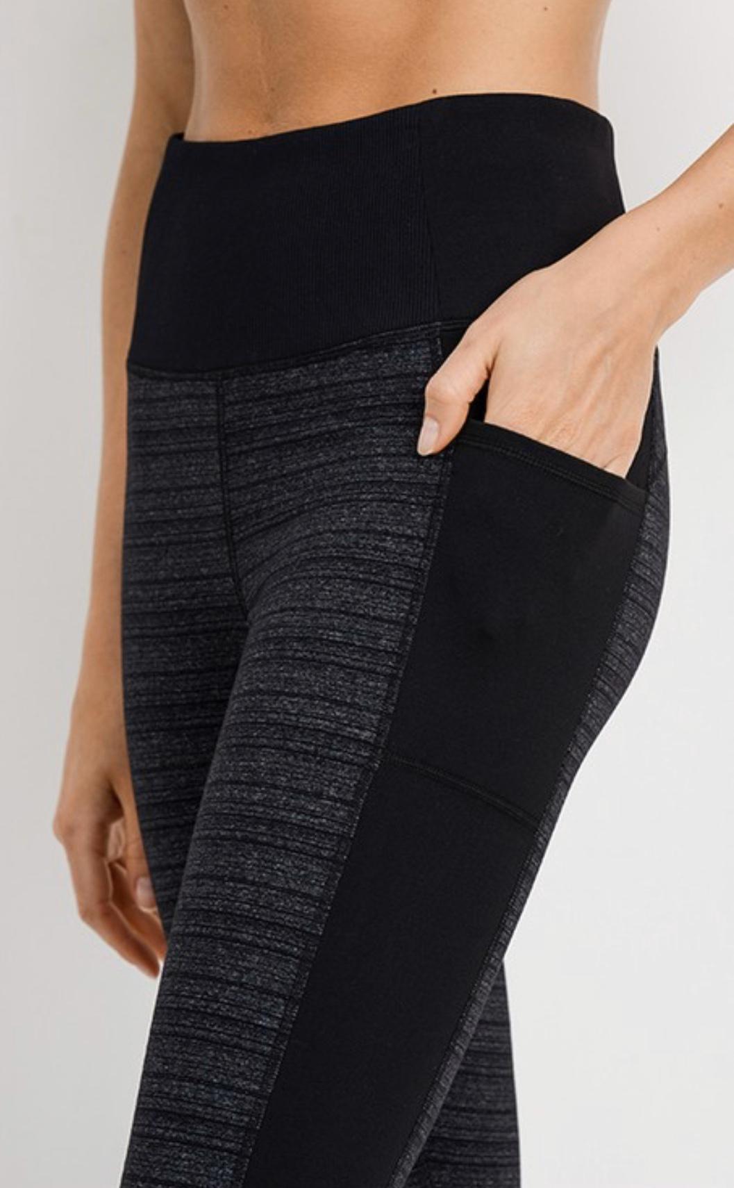 Athletic Legging - Heathered Grey/Black with Bottom Cuff