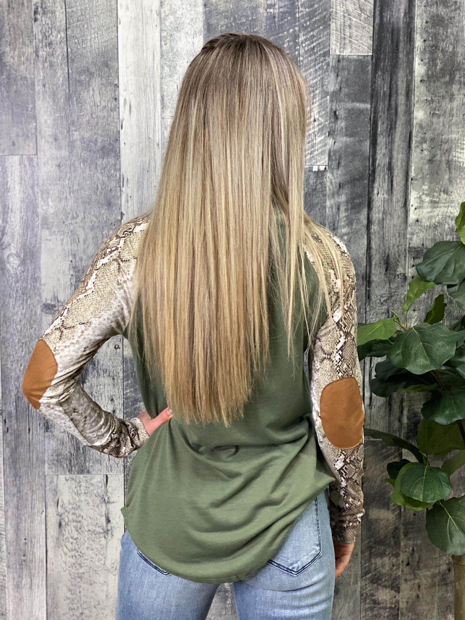 Olive Snakeskin Sleeve Top