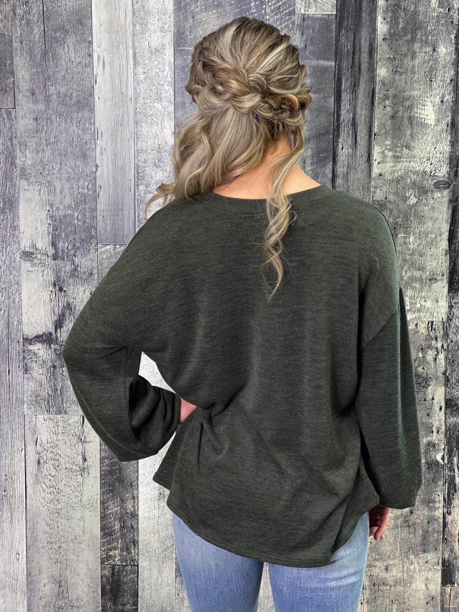 Green Vneck Bubble Sleeve Sweater