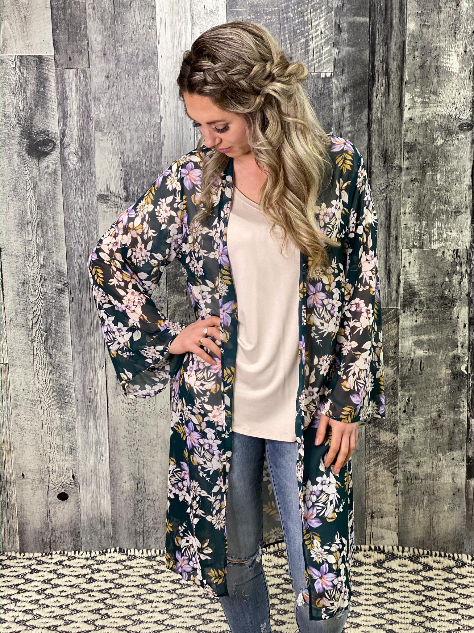 Green Floral Long Sleeve Kimono Duster 7UM7