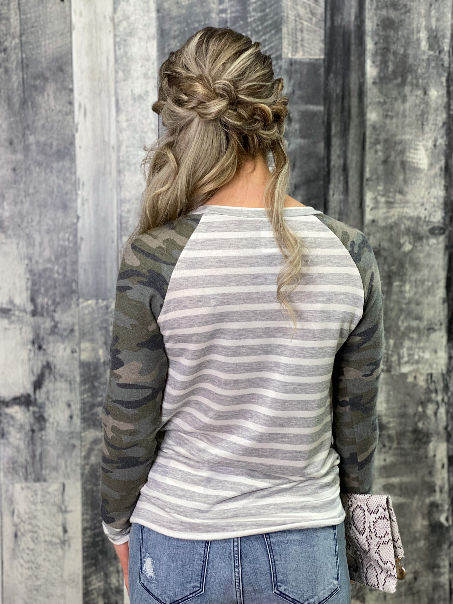 Camo and Striped Long Sleeve Top